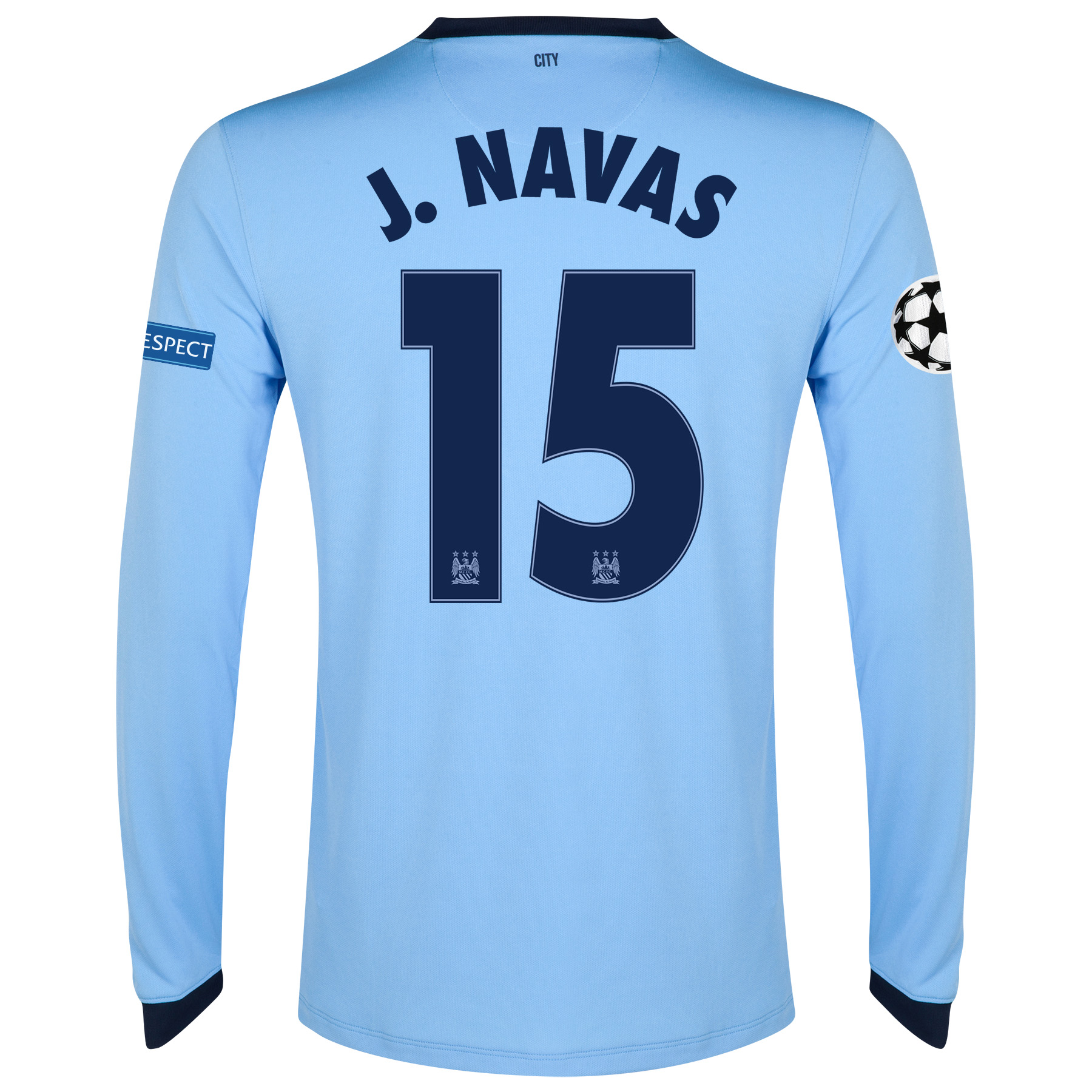 Manchester City UEFA Champions League Home Shirt 2014/15 - Long Sleeve - Kids Sky Blue with J.Navas 15 printing