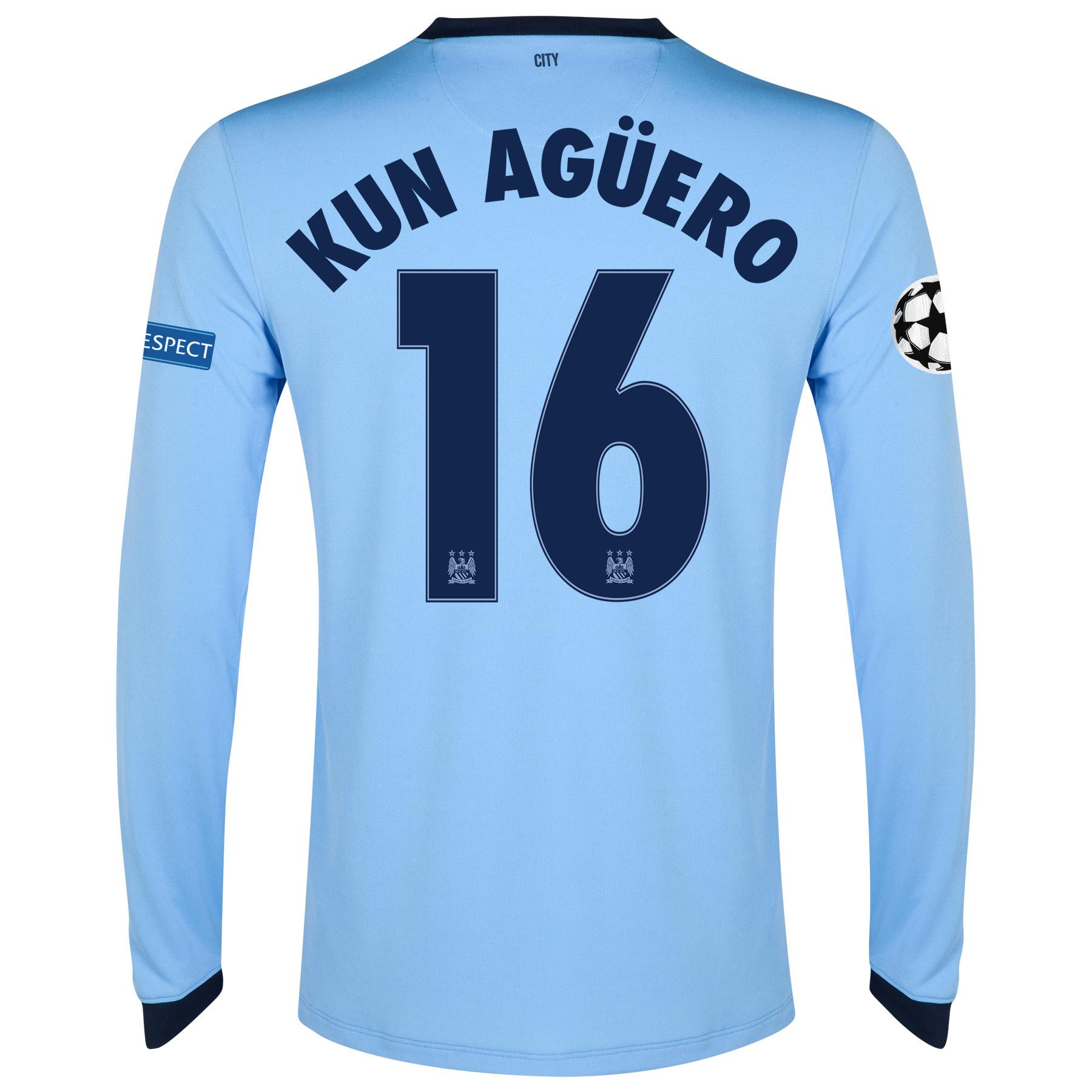 Manchester City UEFA Champions League Home Shirt 2014/15 - Long Sleeve - Kids Sky Blue with Kun Agüero  16 printing