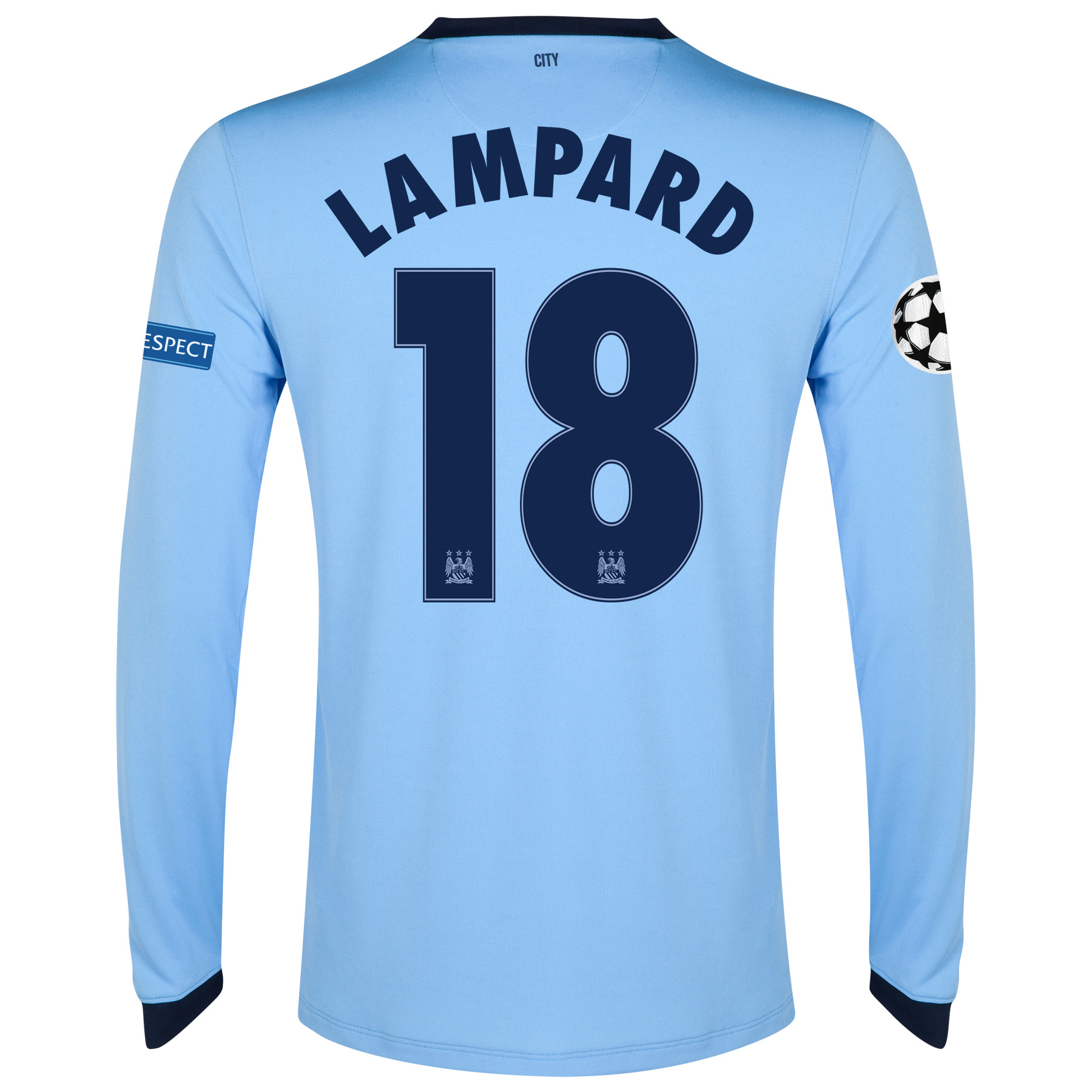 Manchester City UEFA Champions League Home Shirt 2014/15 - Long Sleeve - Kids Sky Blue with Lampard 18 printing