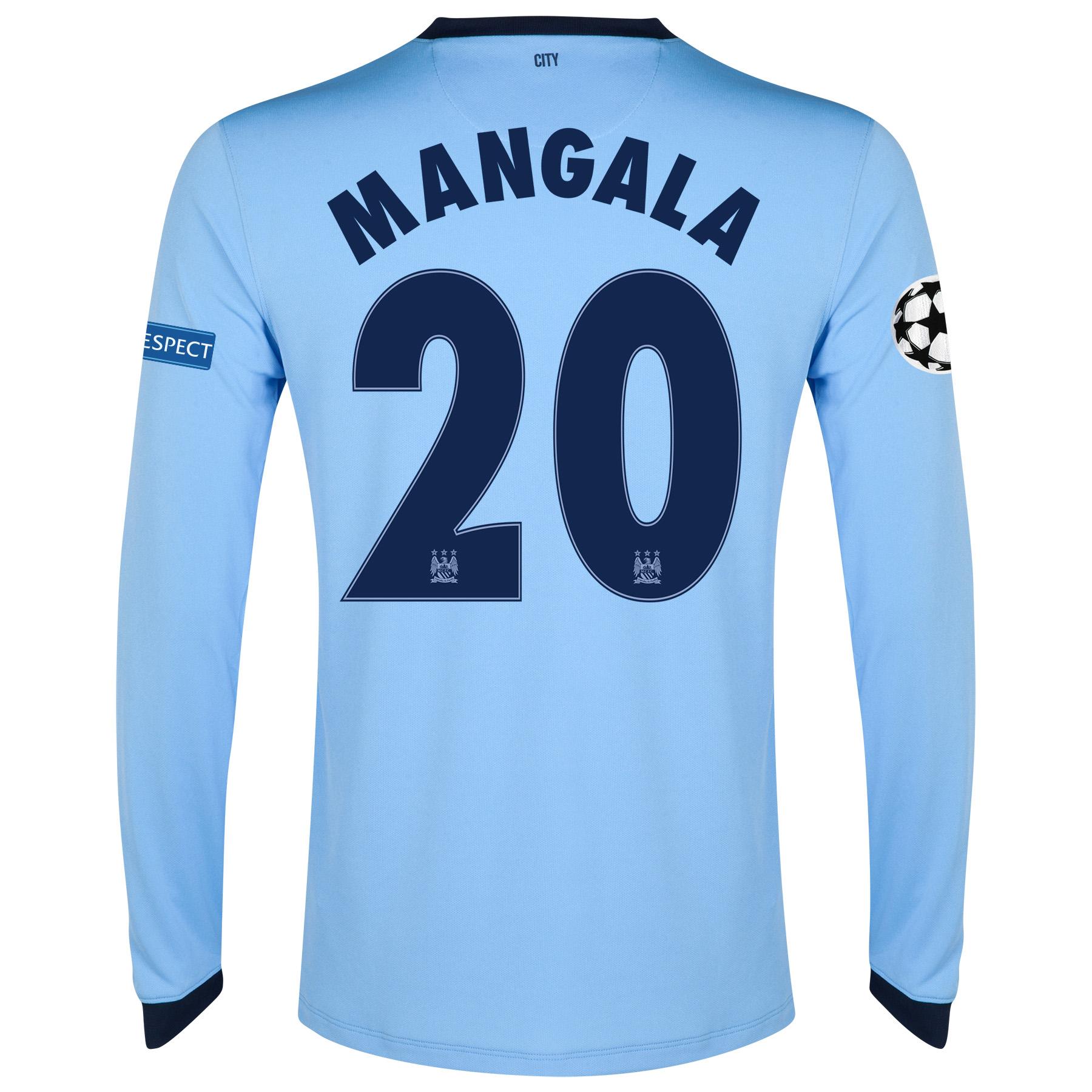 Manchester City UEFA Champions League Home Shirt 2014/15 - Long Sleeve - Kids Sky Blue with Mangala 20 printing