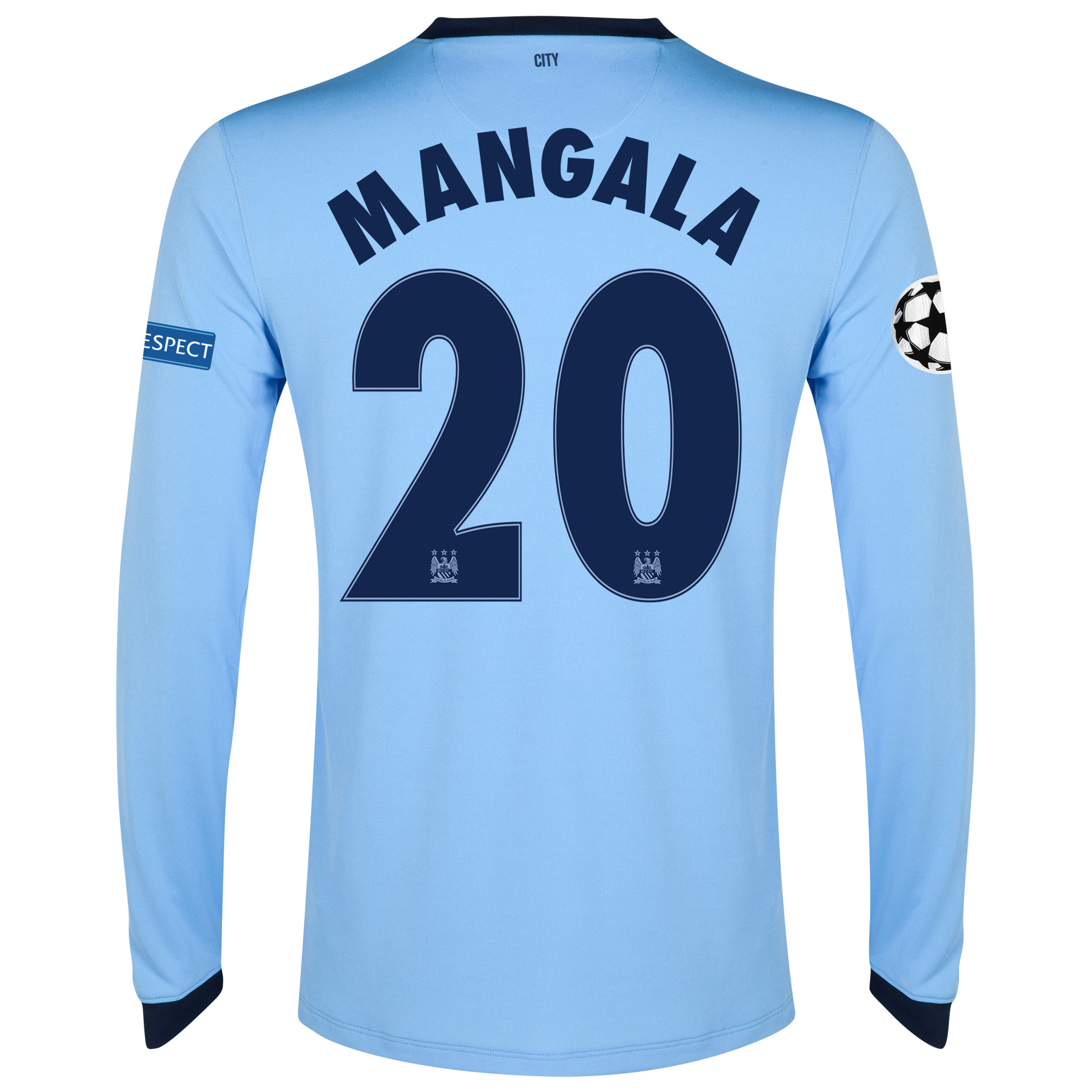 Manchester City UEFA Champions League Home Shirt 2014/15 - Long Sleeve - Kids Sky Blue with Mangala 20 printing