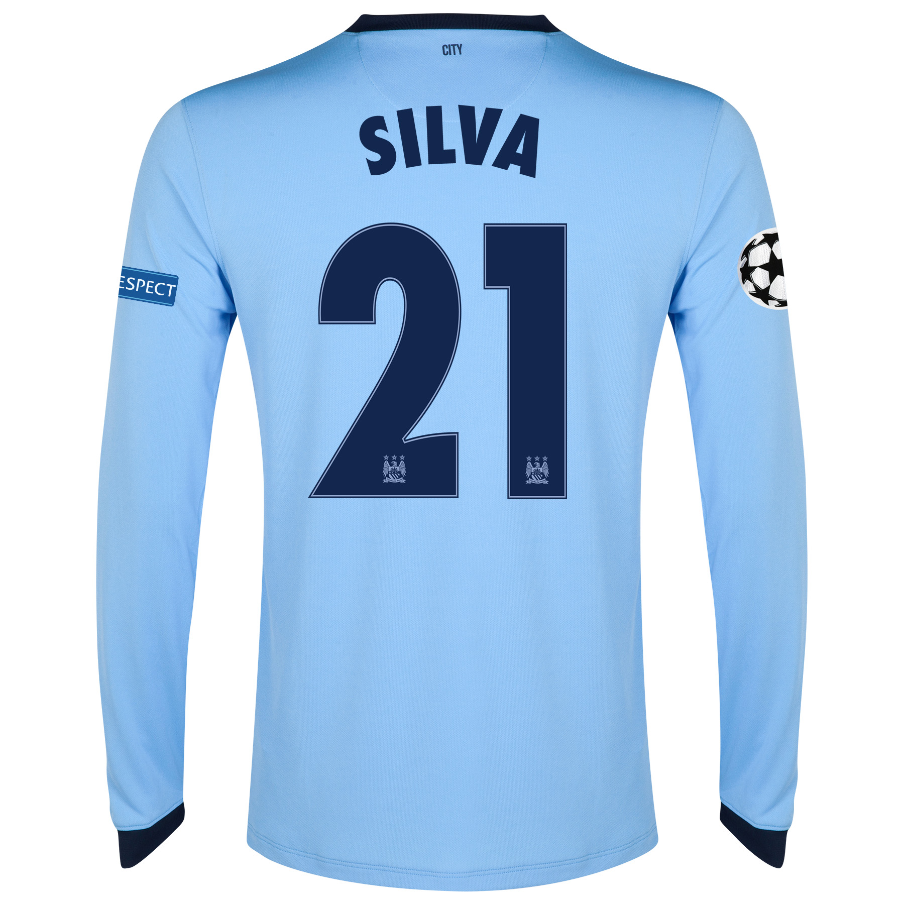 Manchester City UEFA Champions League Home Shirt 2014/15 - Long Sleeve - Kids Sky Blue with Silva 21 printing