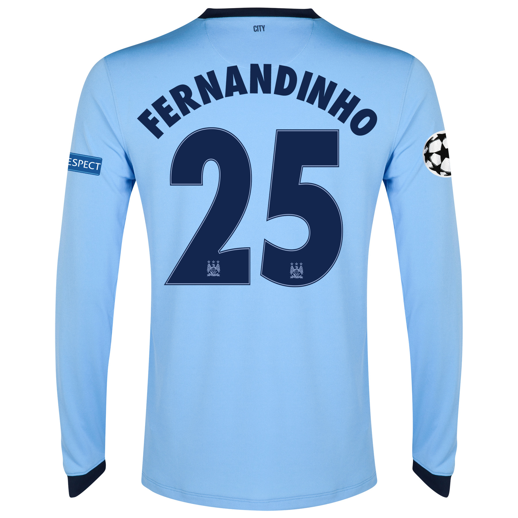 Manchester City UEFA Champions League Home Shirt 2014/15 - Long Sleeve - Kids Sky Blue with Fernandinho 25 printing