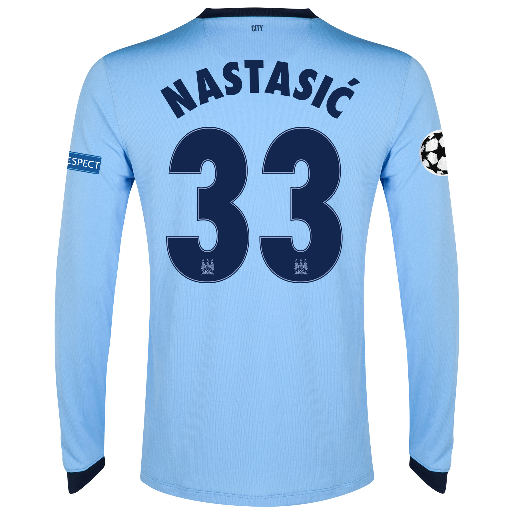 Manchester City UEFA Champions League Home Shirt 2014/15 - Long Sleeve - Kids Sky Blue with Nastasic 33 printing