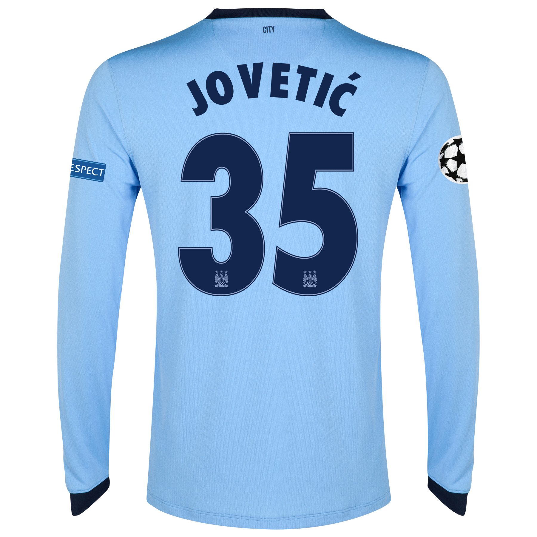 Manchester City UEFA Champions League Home Shirt 2014/15 - Long Sleeve - Kids Sky Blue with Jovetic 35 printing