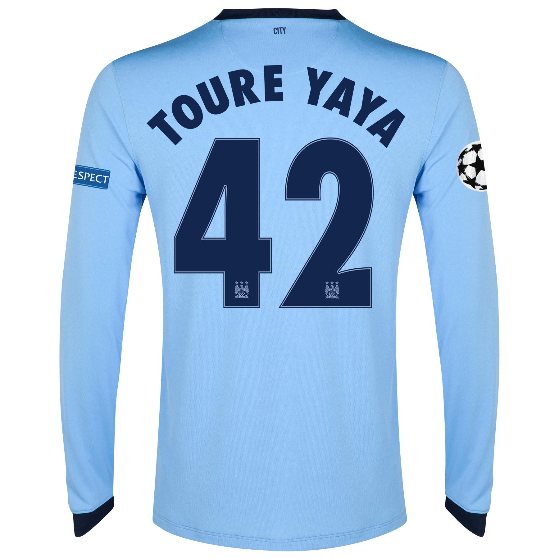 Manchester City UEFA Champions League Home Shirt 2014/15 - Long Sleeve - Kids Sky Blue with Toure Yaya 42 printing