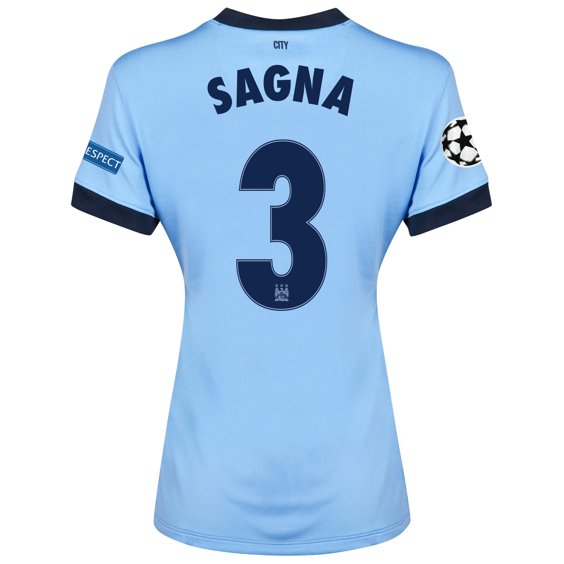 Manchester City UEFA Champions League Home Shirt 2014/15 - Womens Sky Blue with Sagna 3 printing