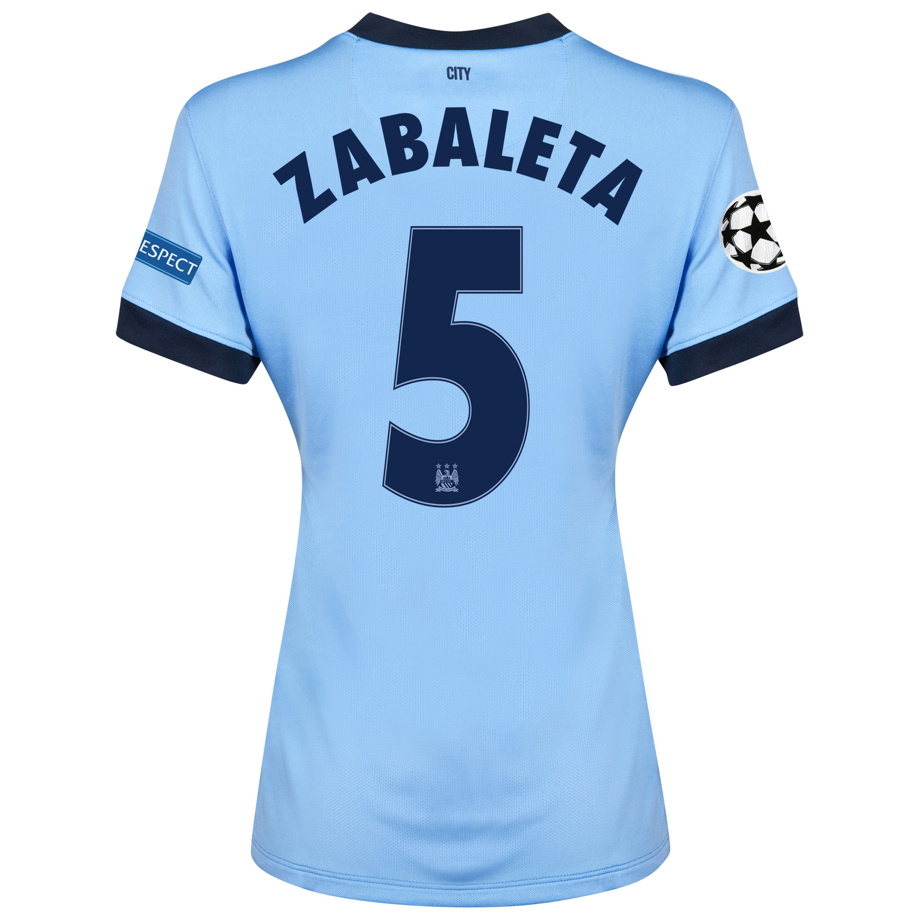 Manchester City UEFA Champions League Home Shirt 2014/15 - Womens Sky Blue with Zabaleta 5 printing