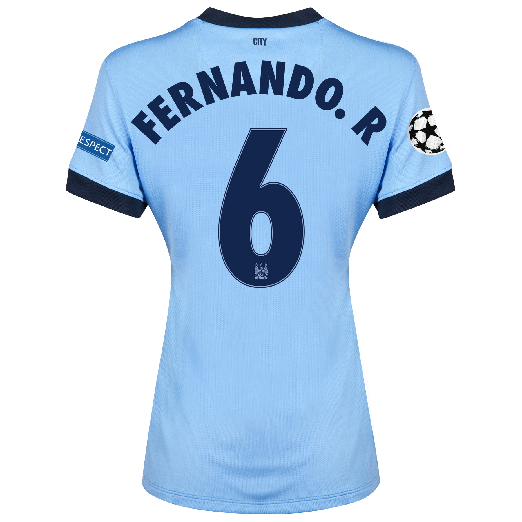 Manchester City UEFA Champions League Home Shirt 2014/15 - Womens Sky Blue with Fernando. R 6 printing