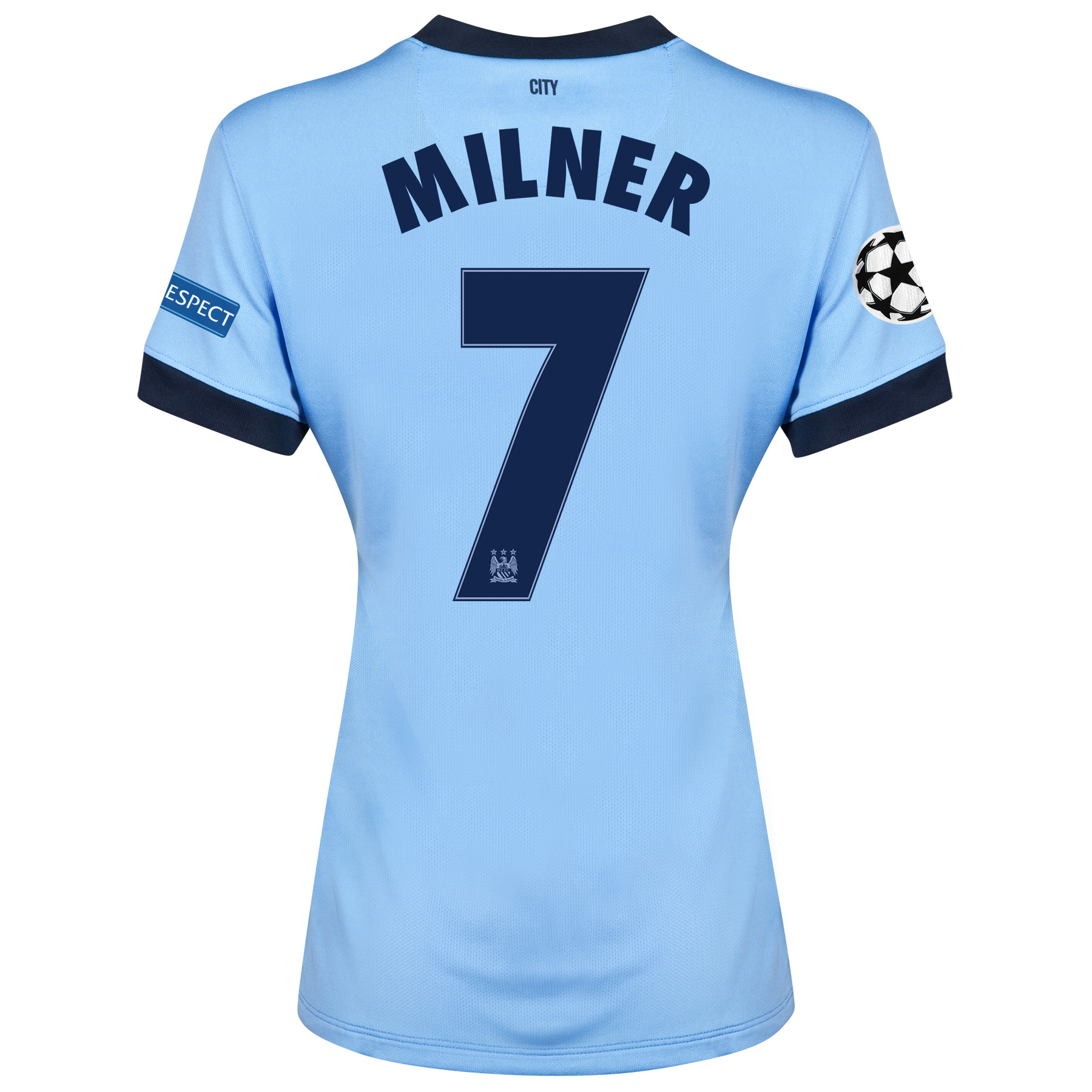 Manchester City UEFA Champions League Home Shirt 2014/15 - Womens Sky Blue with Milner 7 printing