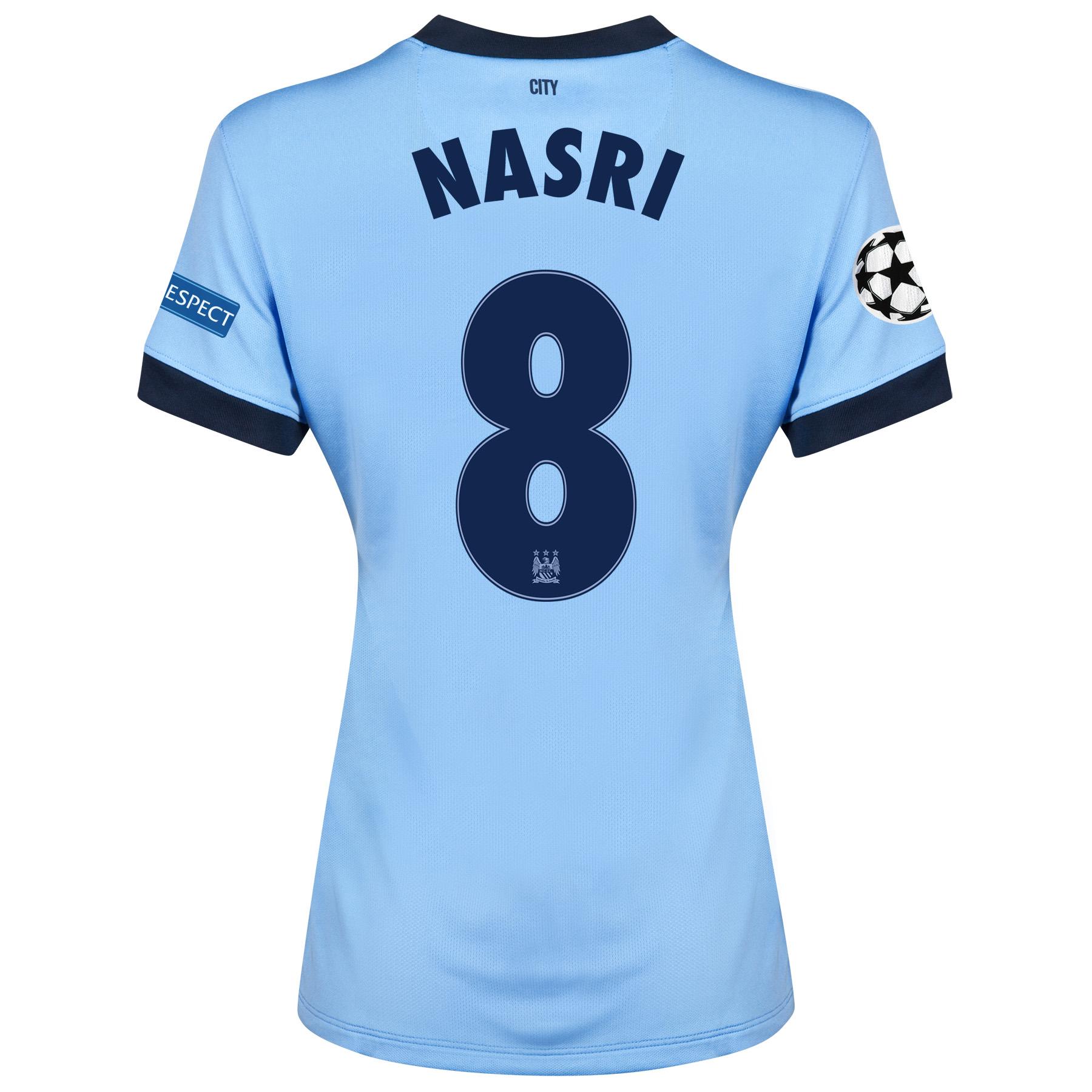 Manchester City UEFA Champions League Home Shirt 2014/15 - Womens Sky Blue with Nasri 8 printing