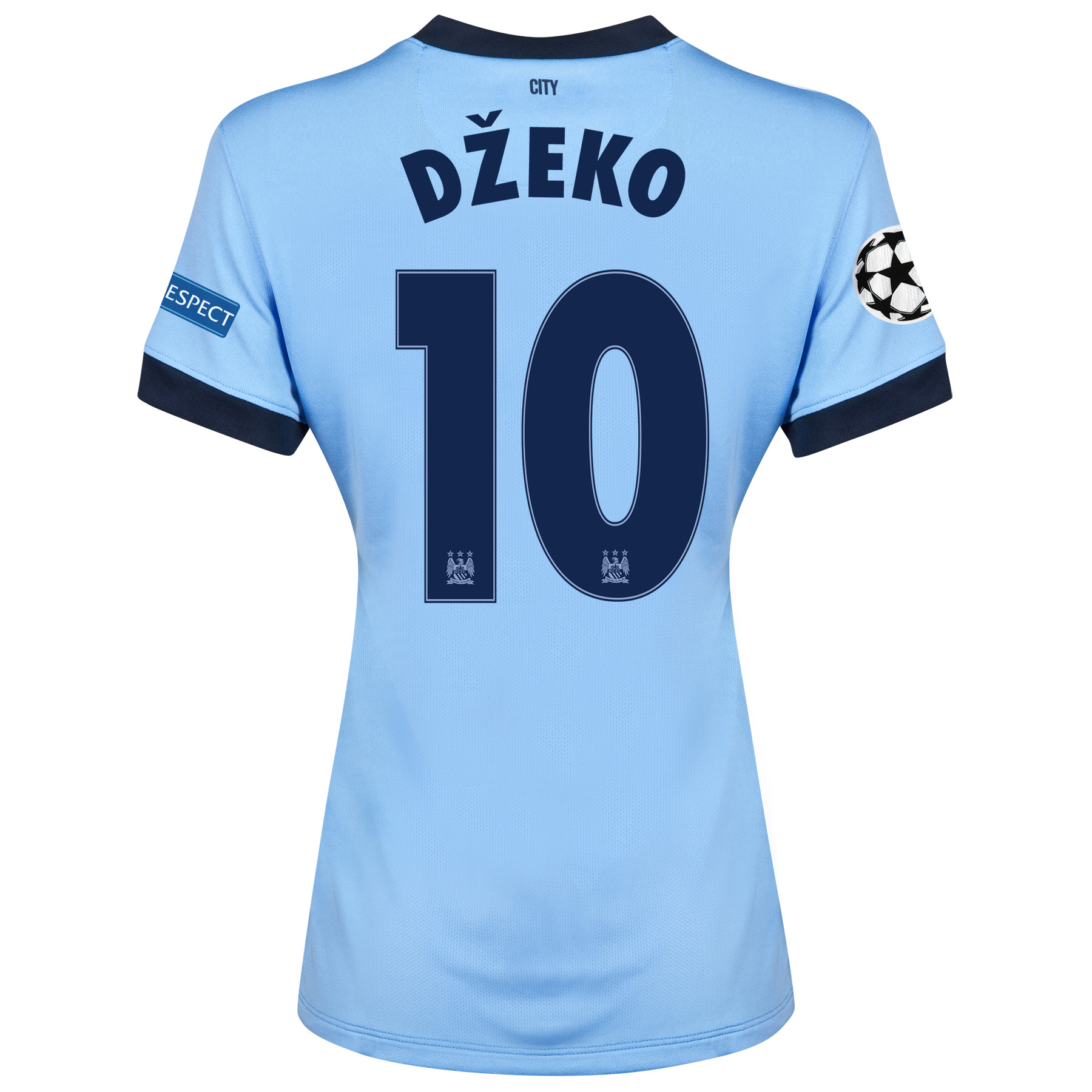 Manchester City UEFA Champions League Home Shirt 2014/15 - Womens Sky Blue with Dzeko 10 printing