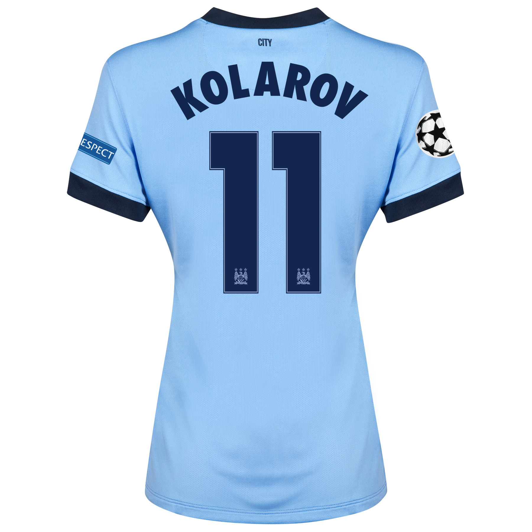 Manchester City UEFA Champions League Home Shirt 2014/15 - Womens Sky Blue with Kolarov 11 printing