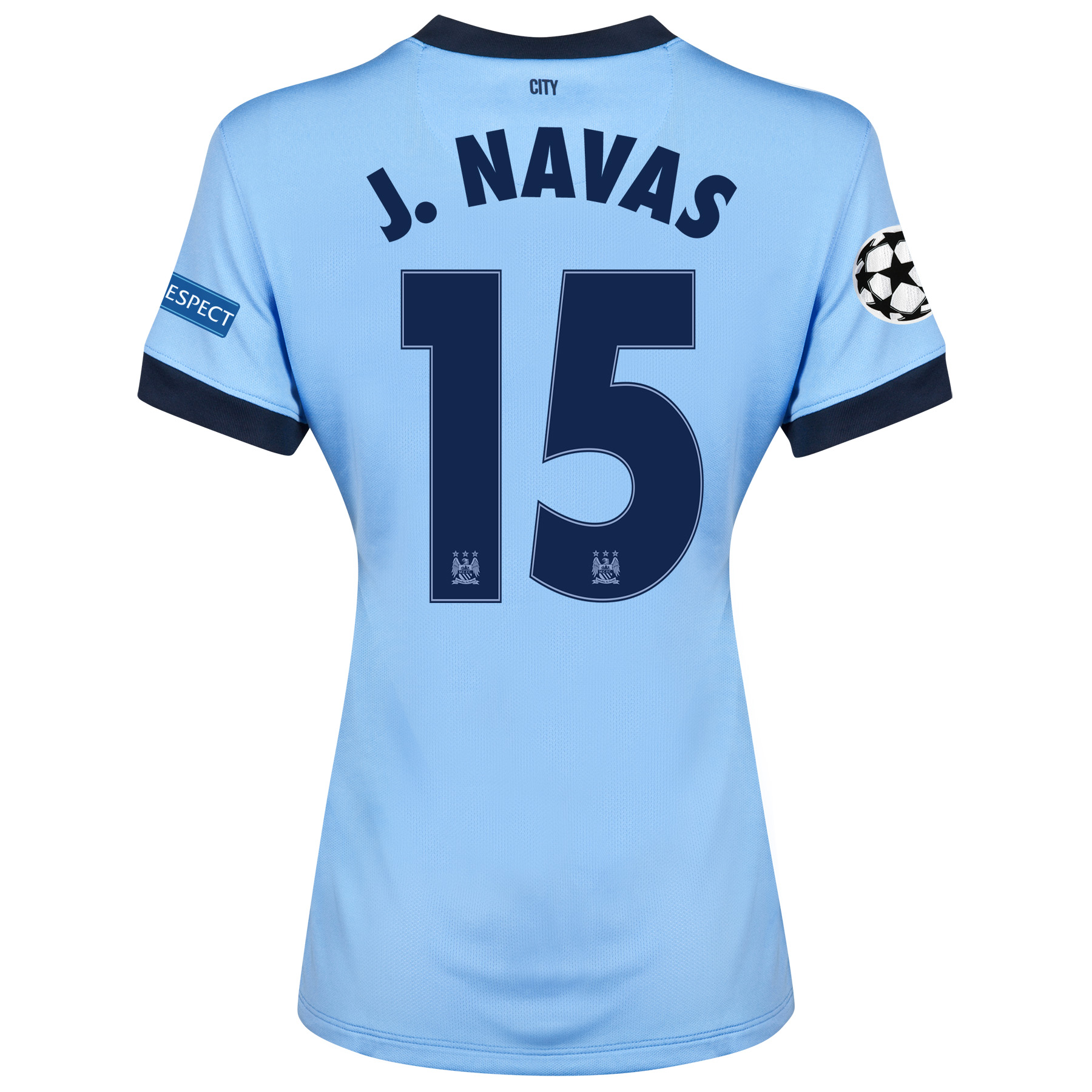 Manchester City UEFA Champions League Home Shirt 2014/15 - Womens Sky Blue with J.Navas 15 printing