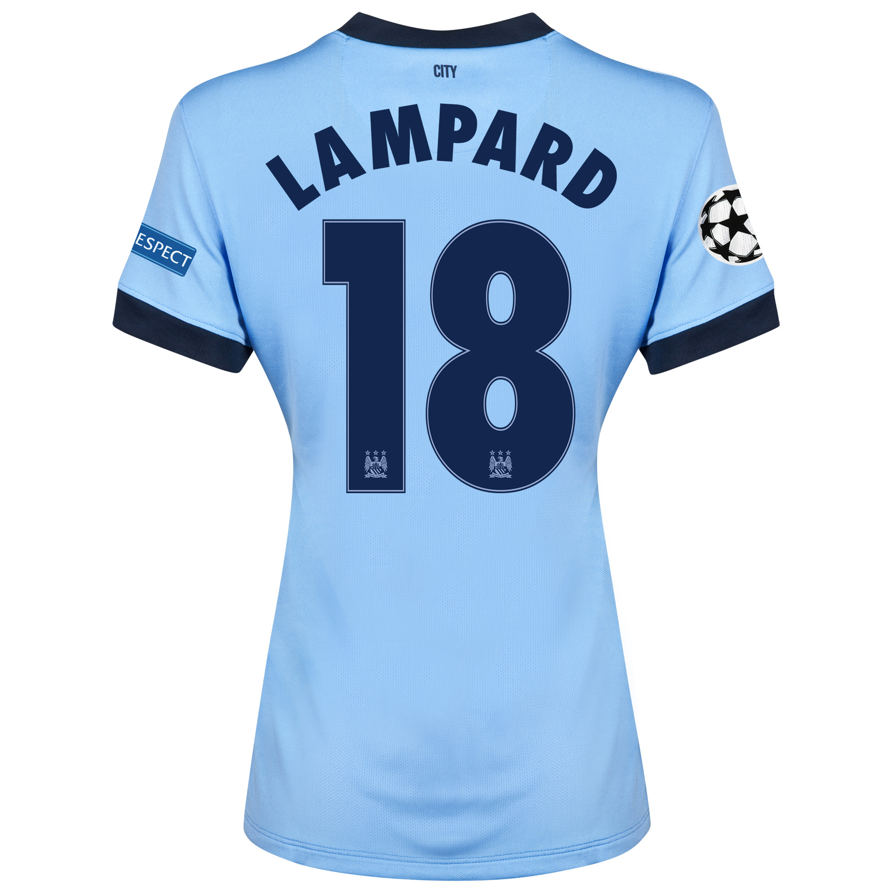 Manchester City UEFA Champions League Home Shirt 2014/15 - Womens Sky Blue with Lampard 18 printing