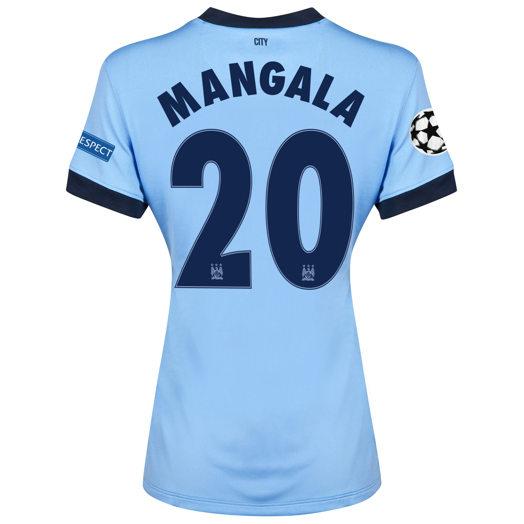 Manchester City UEFA Champions League Home Shirt 2014/15 - Womens Sky Blue with Mangala 20 printing