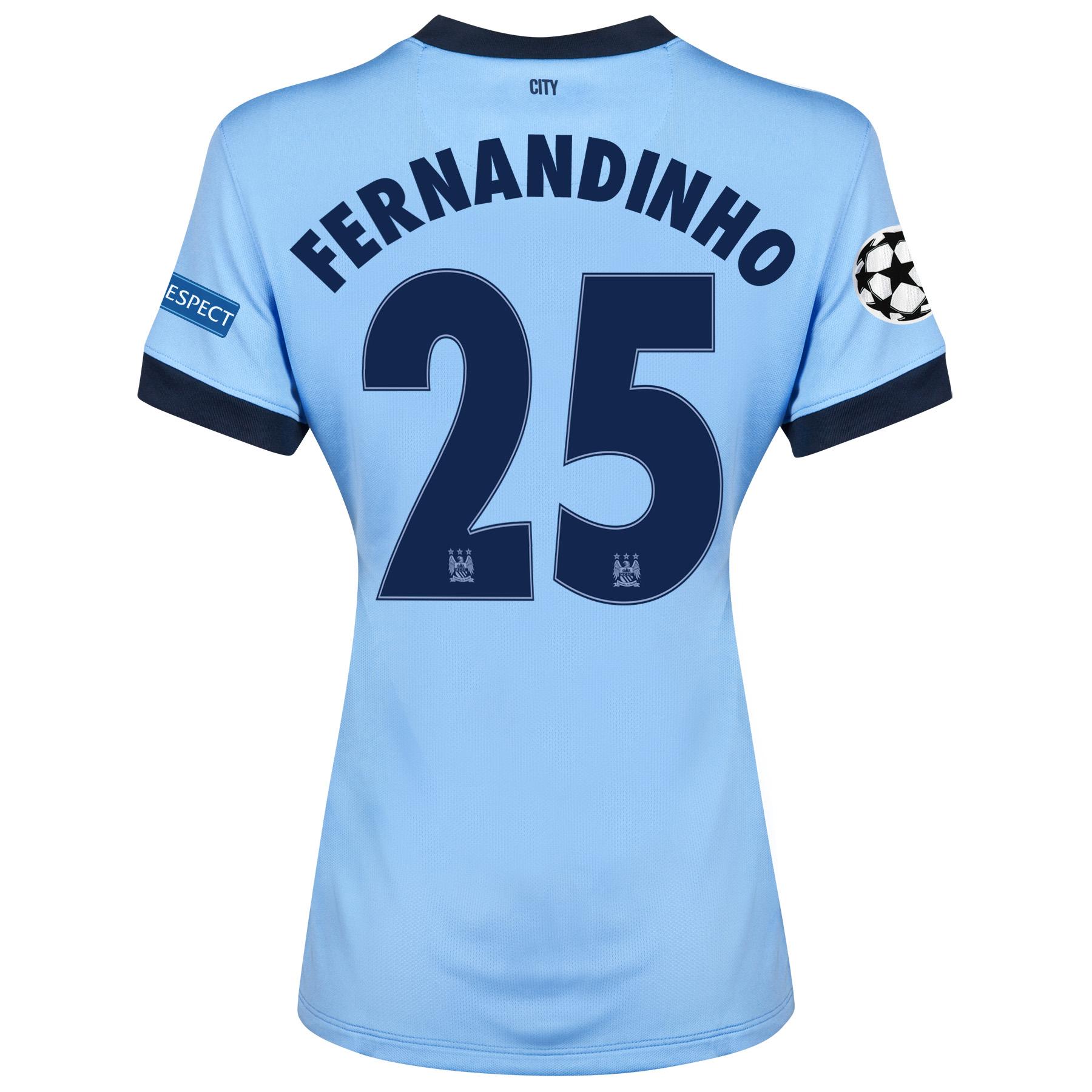 Manchester City UEFA Champions League Home Shirt 2014/15 - Womens Sky Blue with Fernandinho 25 printing