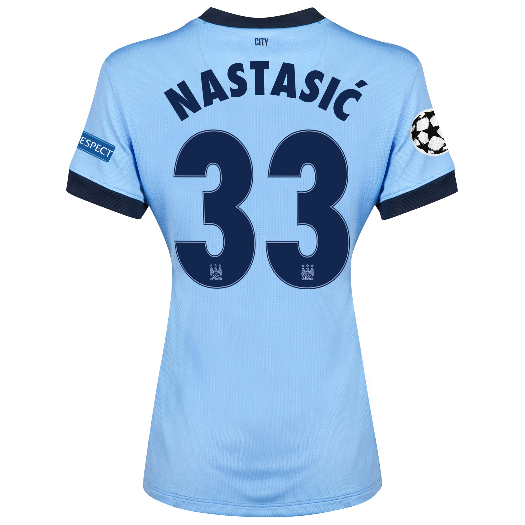Manchester City UEFA Champions League Home Shirt 2014/15 - Womens Sky Blue with Nastasic 33 printing