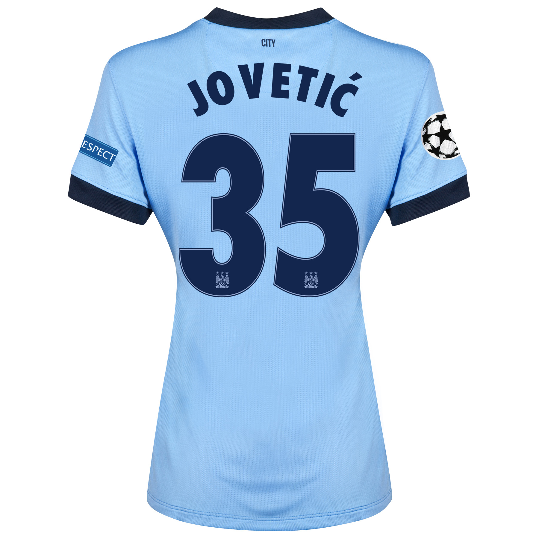 Manchester City UEFA Champions League Home Shirt 2014/15 - Womens Sky Blue with Jovetic 35 printing