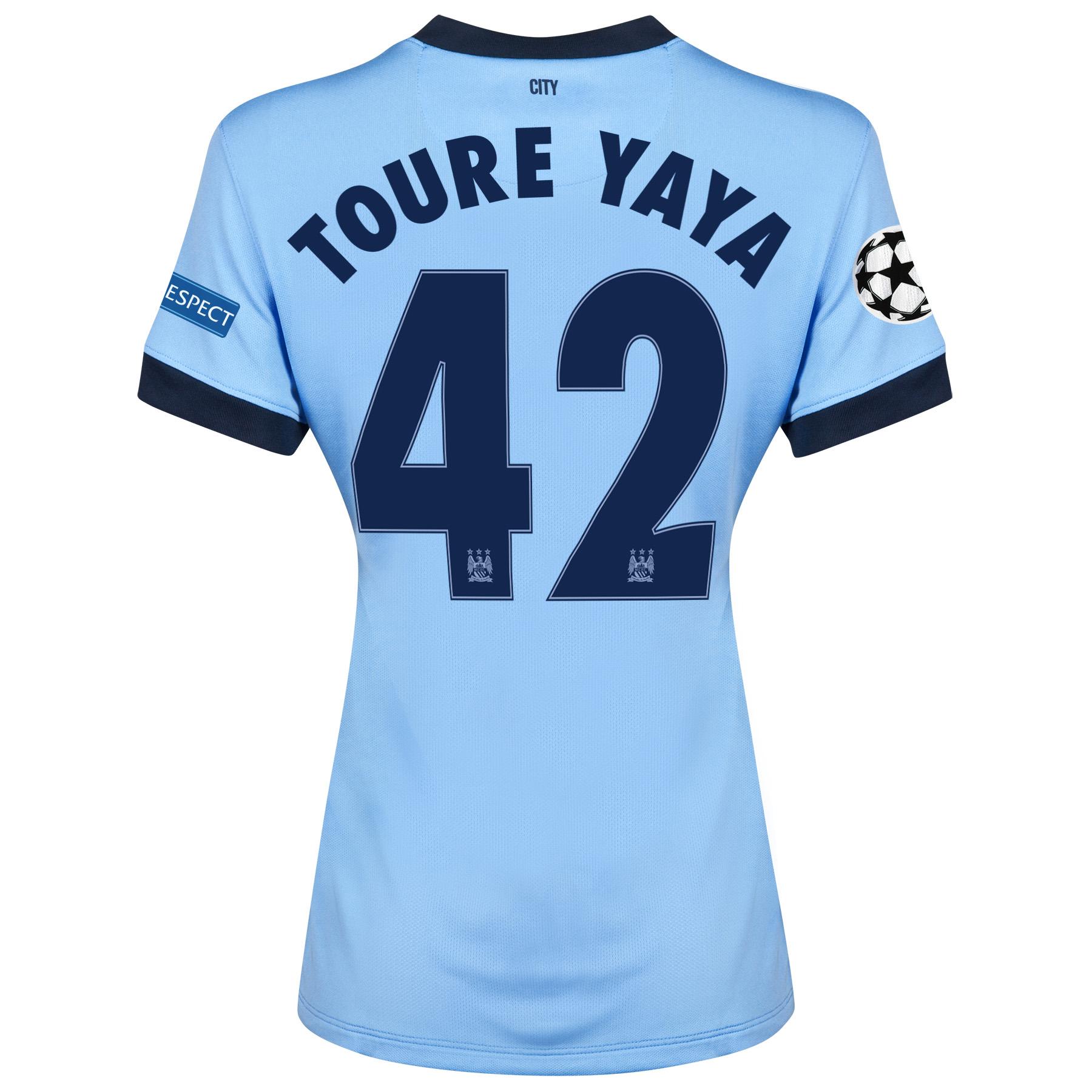 Manchester City UEFA Champions League Home Shirt 2014/15 - Womens Sky Blue with Toure Yaya 42 printing
