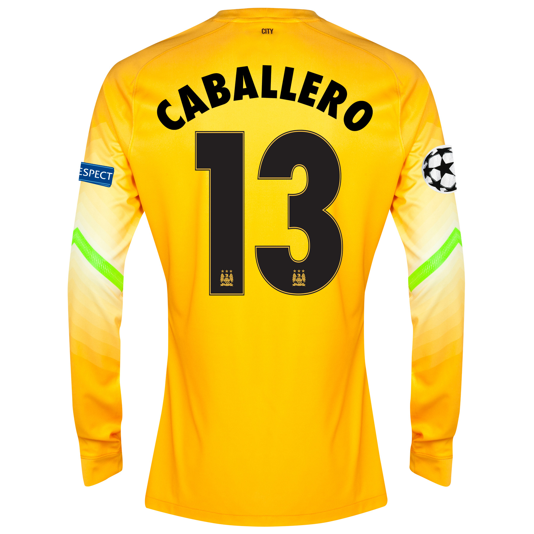 Manchester City UEFA Champions League Change Goalkeeper Shirt 2014/15 - Kids Gold with Caballero 13 printing