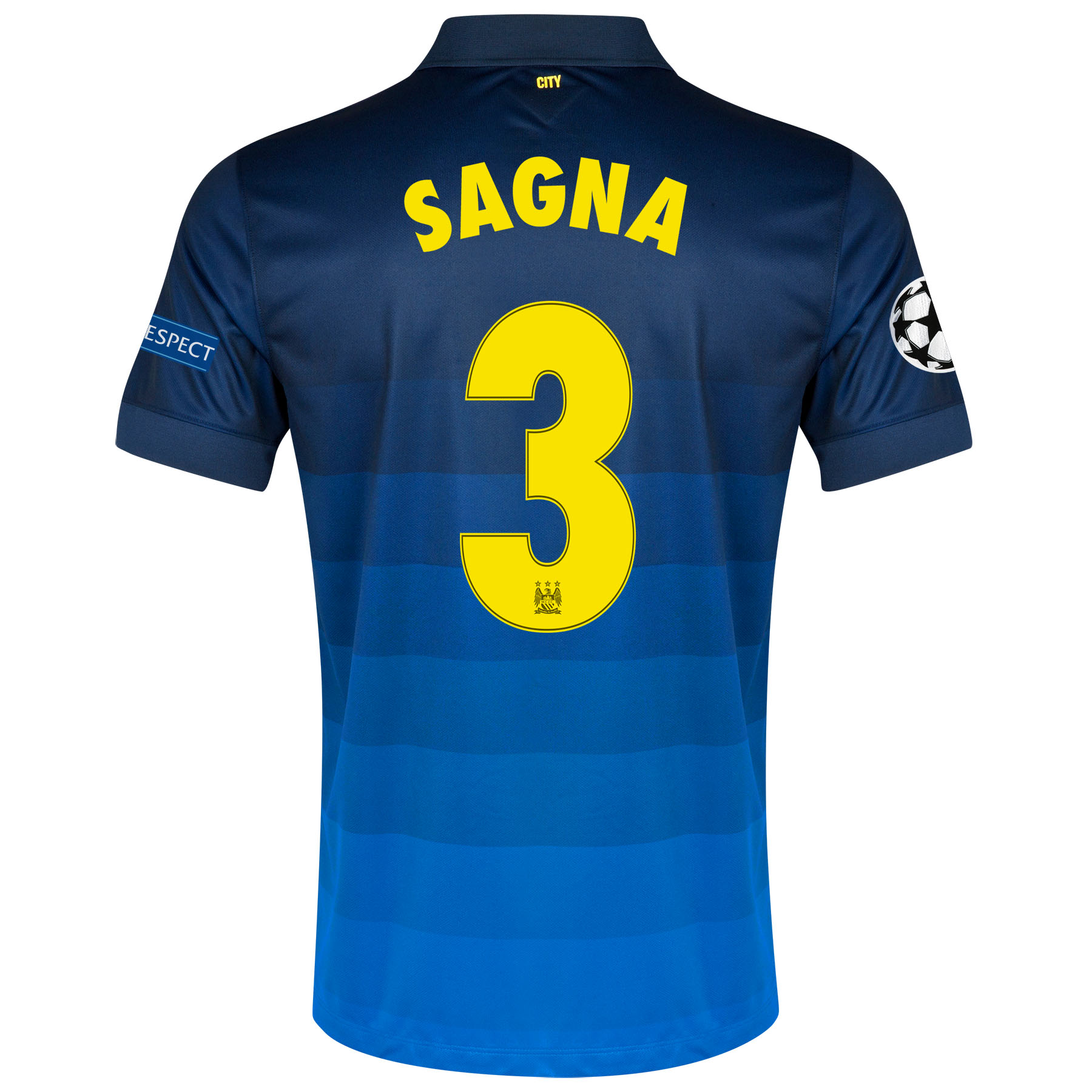 Manchester City UEFA Champions League Away Shirt 2014/15 with Sagna 3 printing
