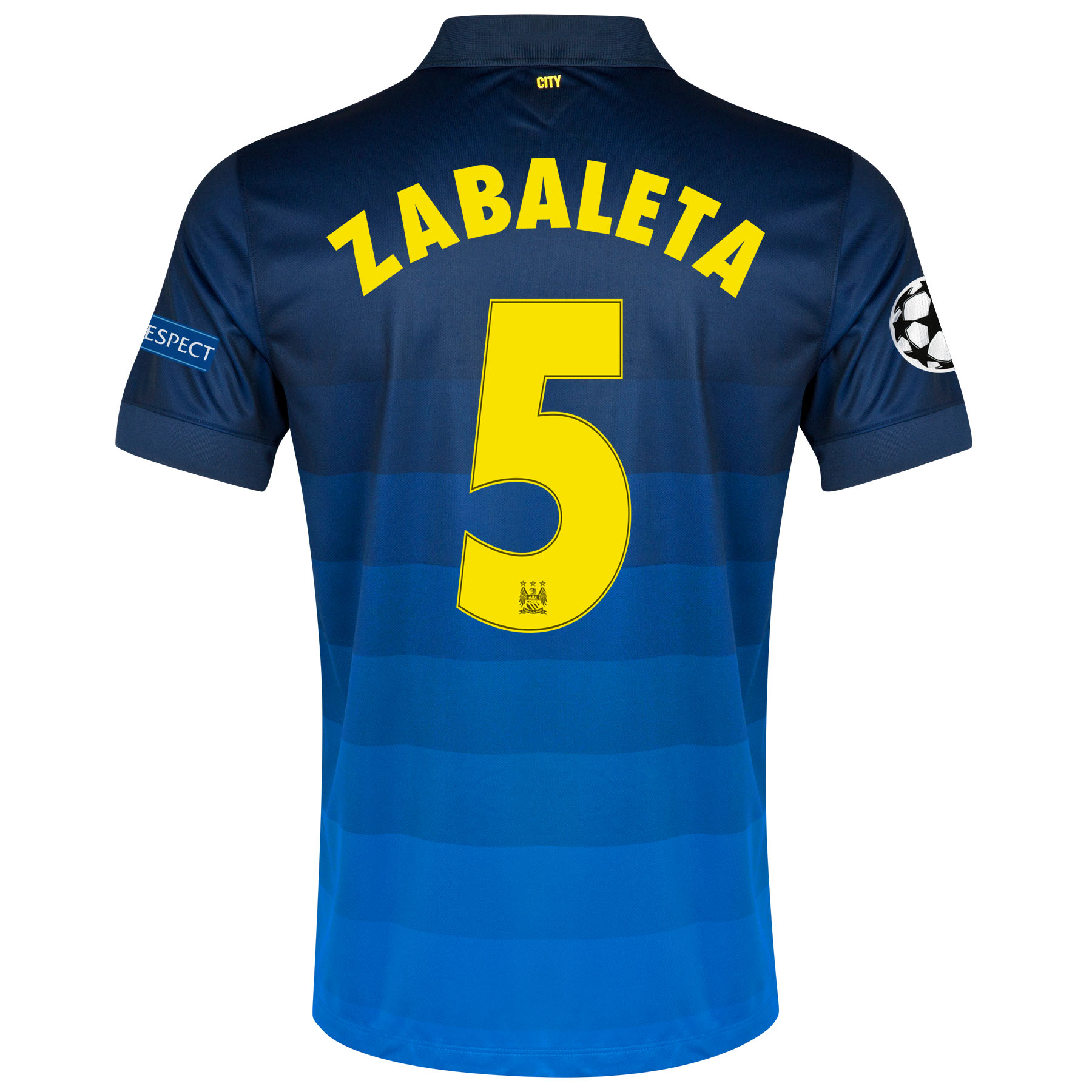 Manchester City UEFA Champions League Away Shirt 2014/15 with Zabaleta 5 printing