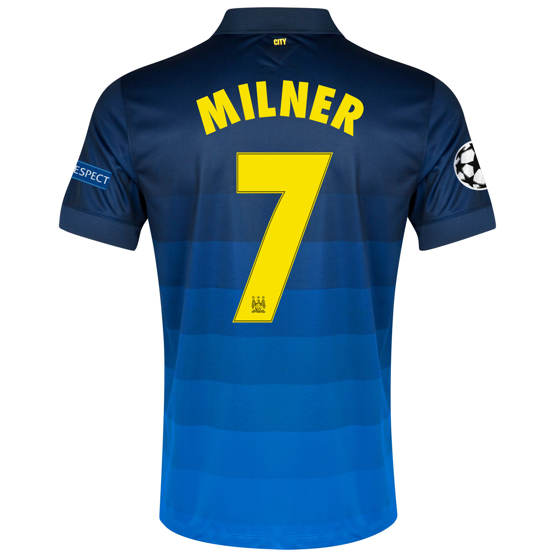 Manchester City UEFA Champions League Away Shirt 2014/15 with Milner 7 printing