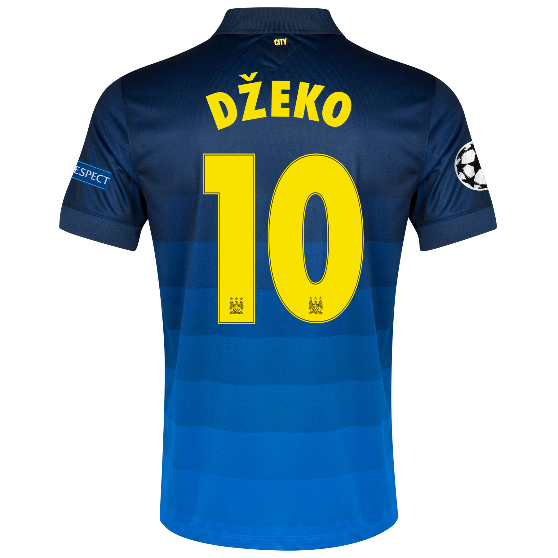 Manchester City UEFA Champions League Away Shirt 2014/15 with Dzeko 10 printing