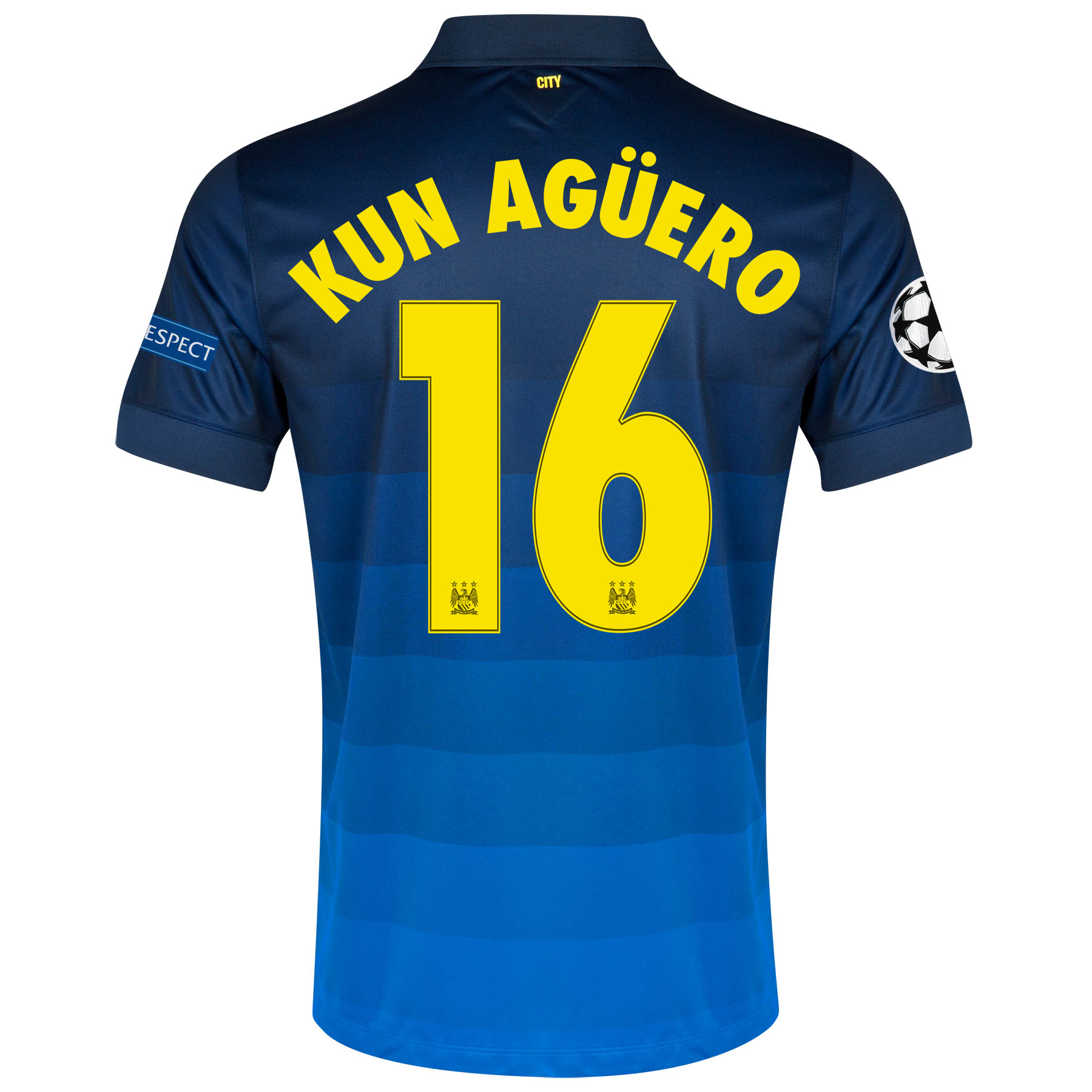 Manchester City UEFA Champions League Away Shirt 2014/15 with Kun Agüero  16 printing