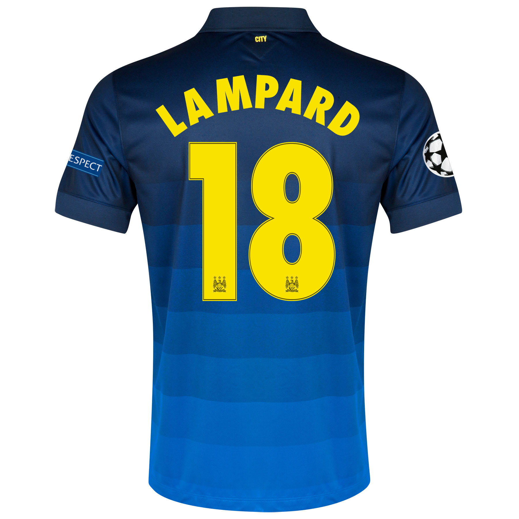 Manchester City UEFA Champions League Away Shirt 2014/15 with Lampard 18 printing