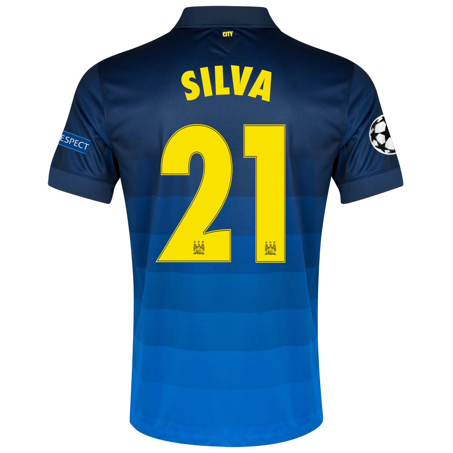 Manchester City UEFA Champions League Away Shirt 2014/15 with Silva 21 printing