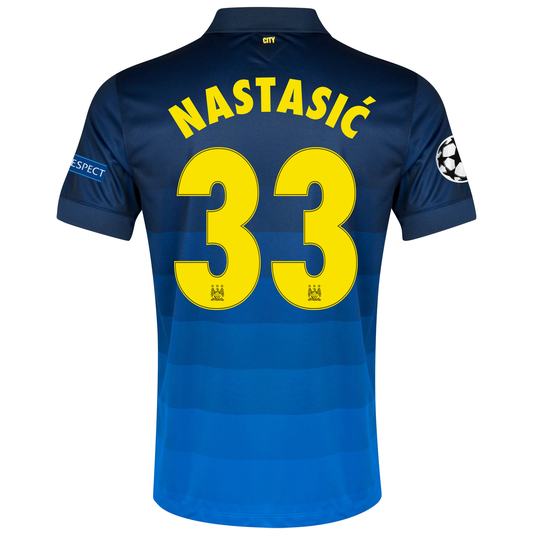 Manchester City UEFA Champions League Away Shirt 2014/15 with Nastasic 33 printing