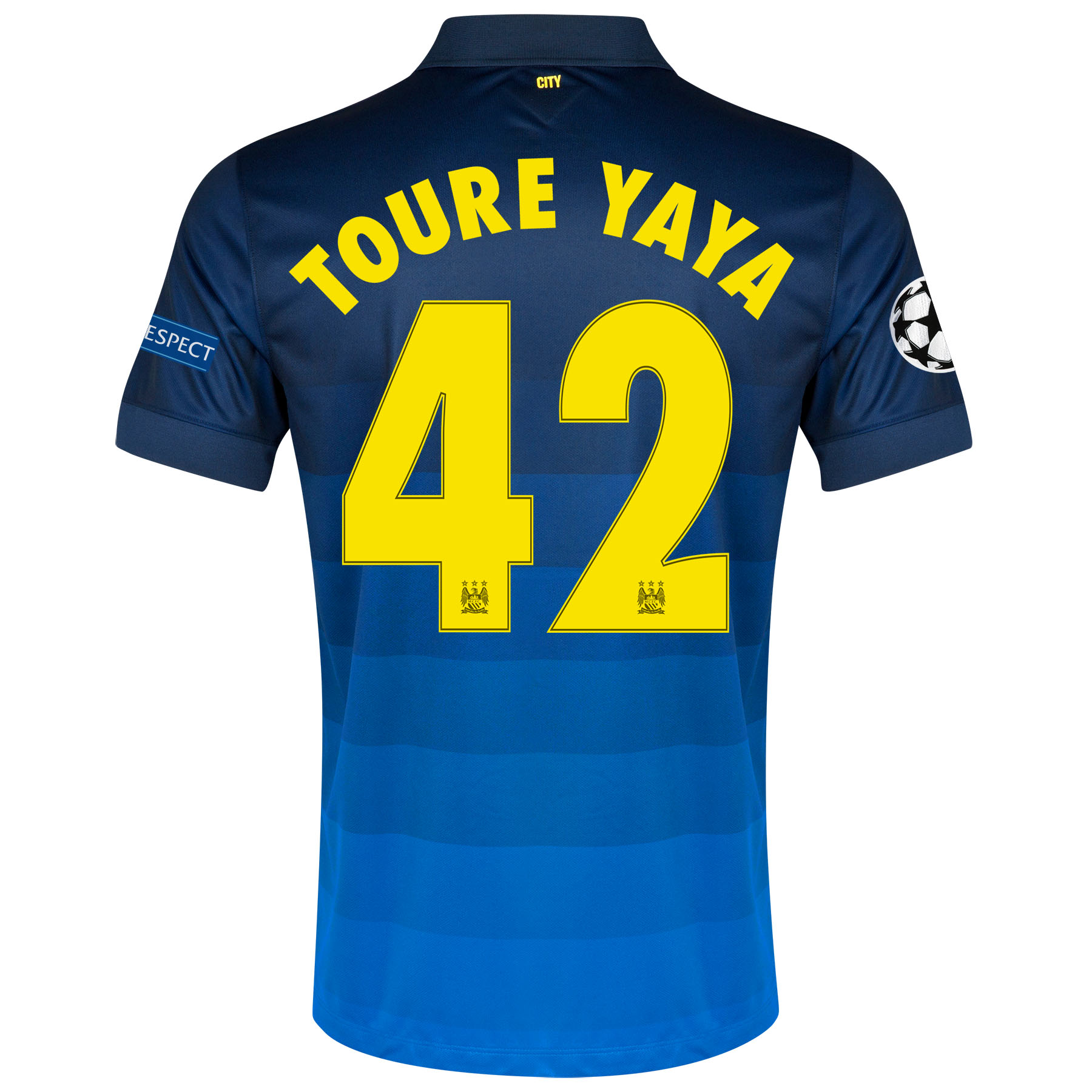 Manchester City UEFA Champions League Away Shirt 2014/15 with Toure Yaya 42 printing