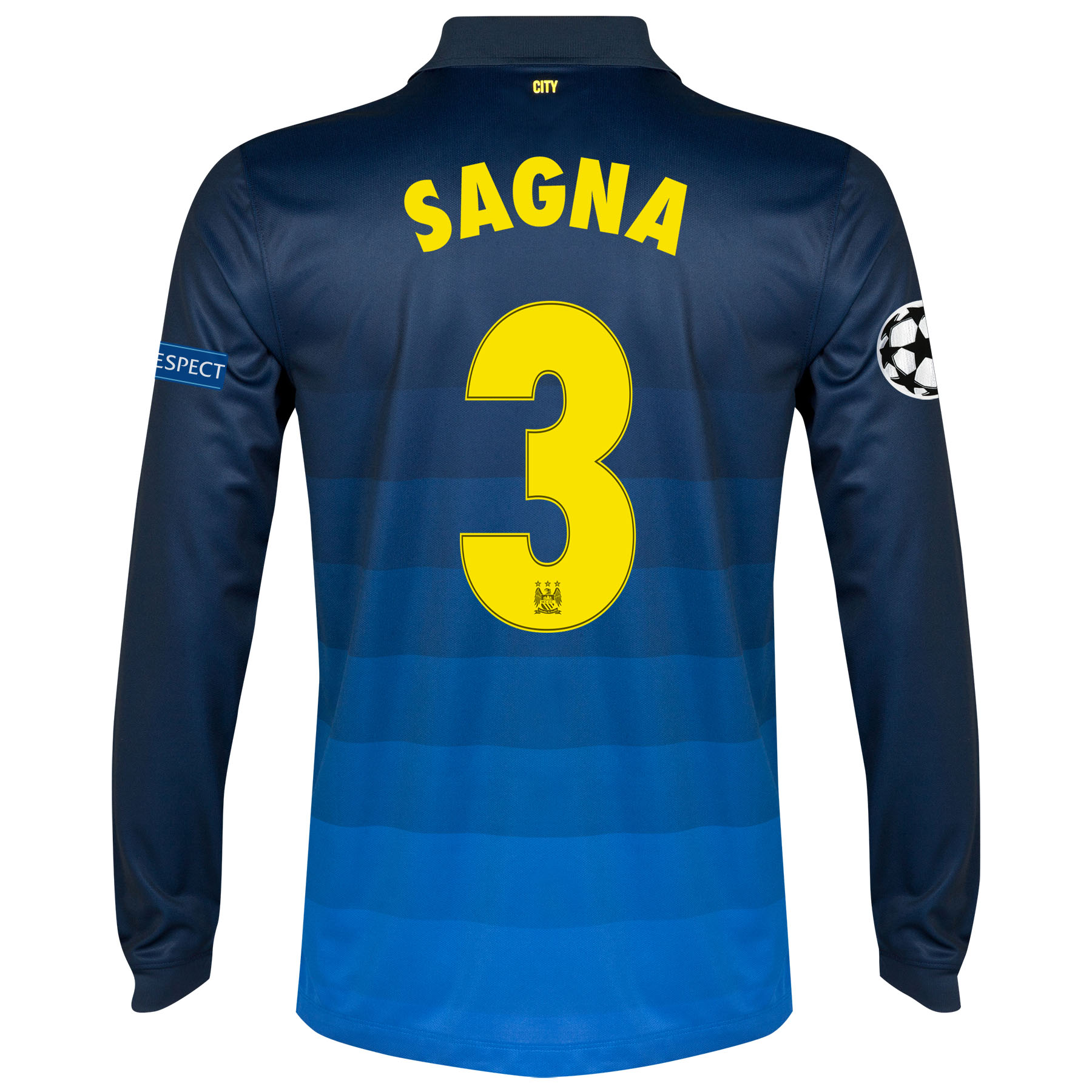 Manchester City UEFA Champions League Away Shirt 2014/15 - Long Sleeve with Sagna 3 printing