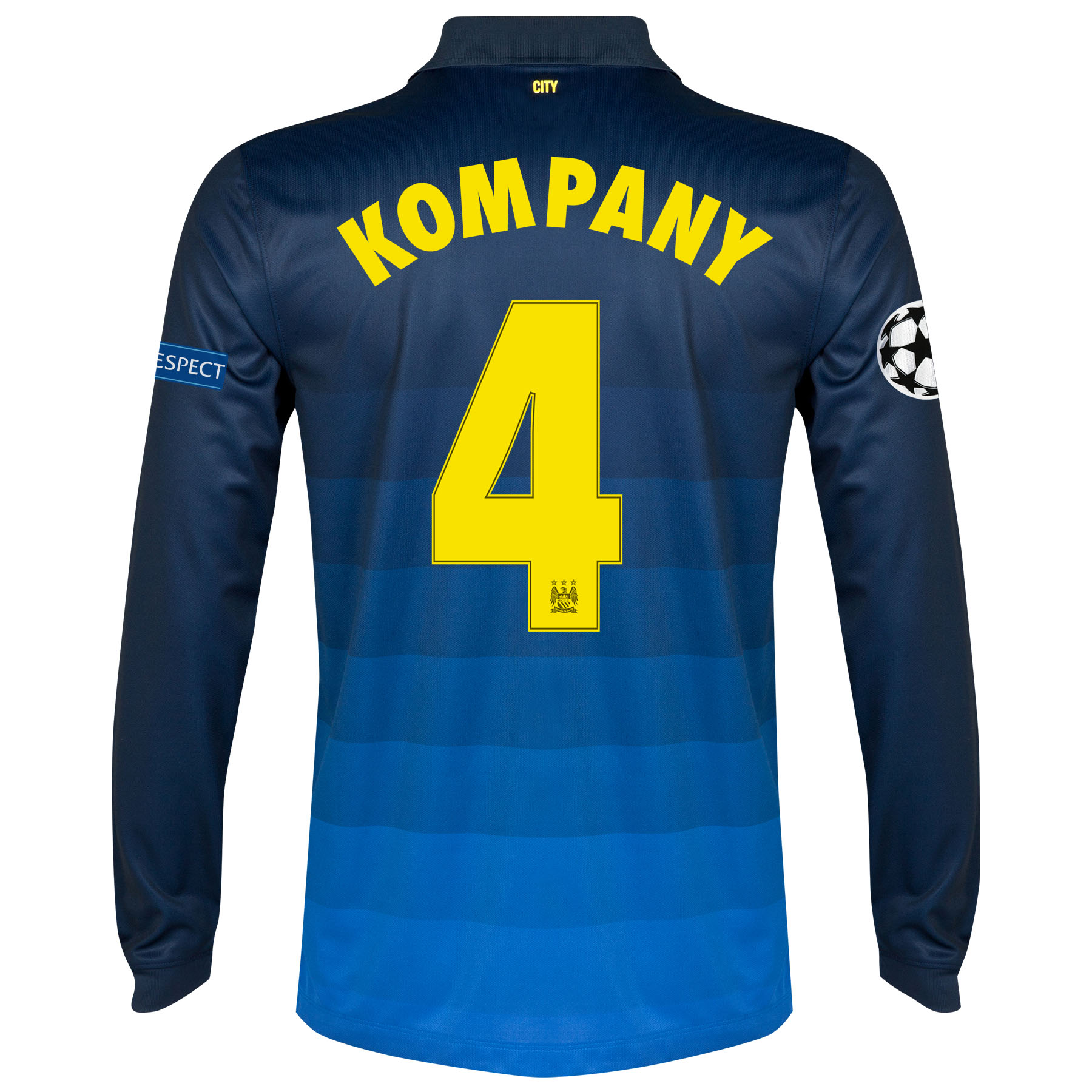 Manchester City UEFA Champions League Away Shirt 2014/15 - Long Sleeve with Kompany 4 printing