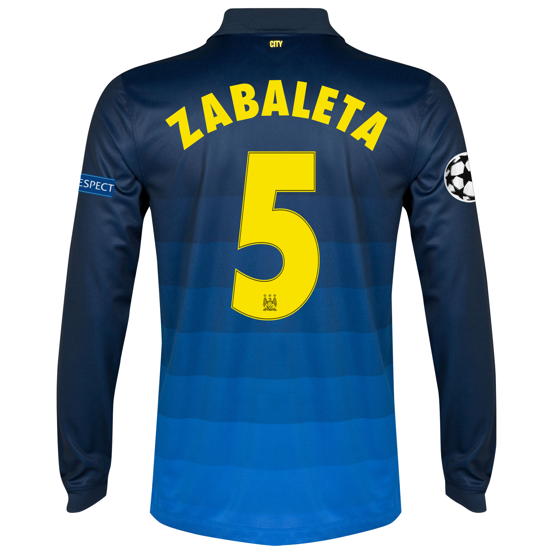 Manchester City UEFA Champions League Away Shirt 2014/15 - Long Sleeve with Zabaleta 5 printing