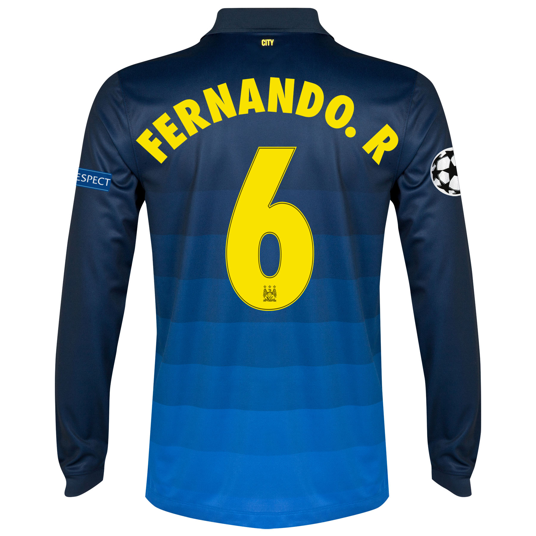 Manchester City UEFA Champions League Away Shirt 2014/15 - Long Sleeve with Fernando. R 6 printing