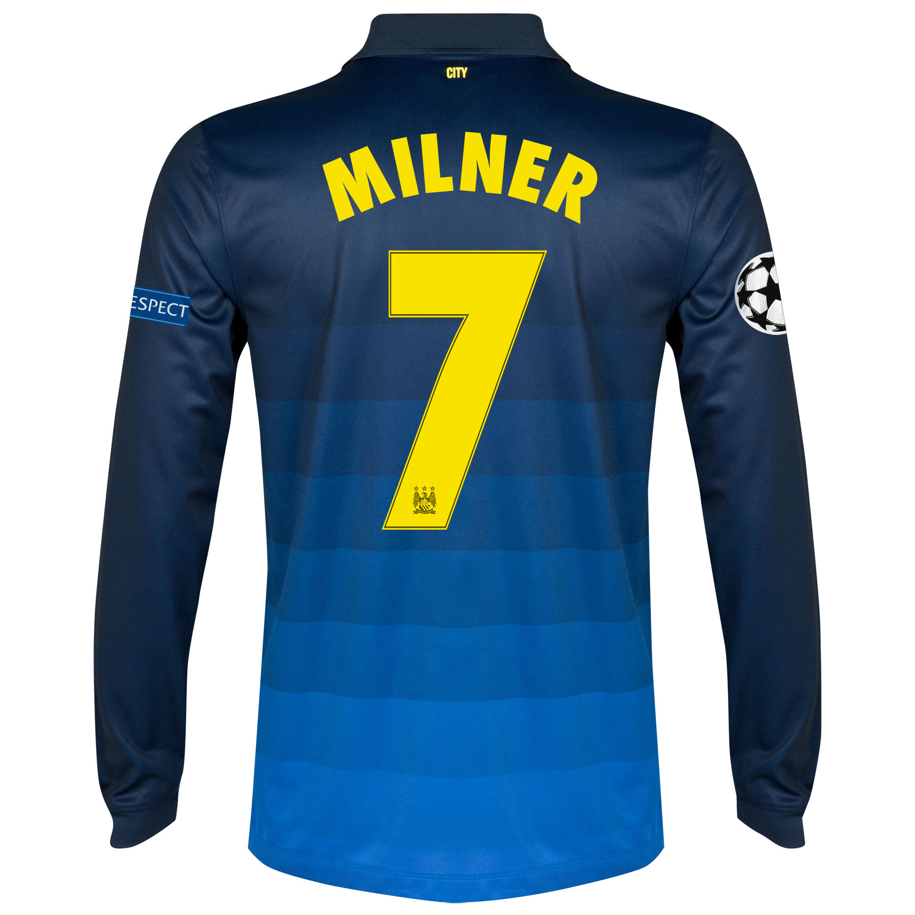 Manchester City UEFA Champions League Away Shirt 2014/15 - Long Sleeve with Milner 7 printing