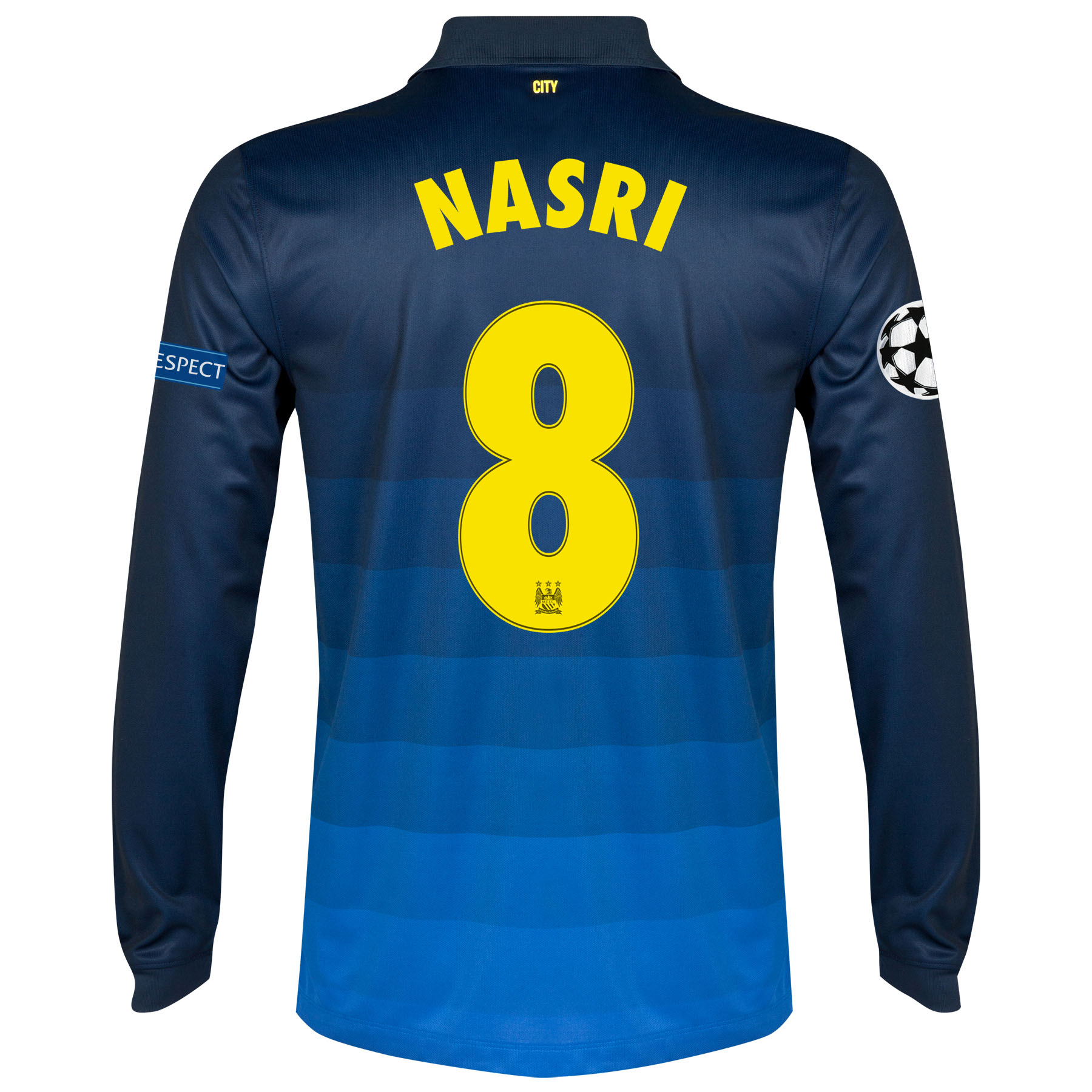 Manchester City UEFA Champions League Away Shirt 2014/15 - Long Sleeve with Nasri 8 printing