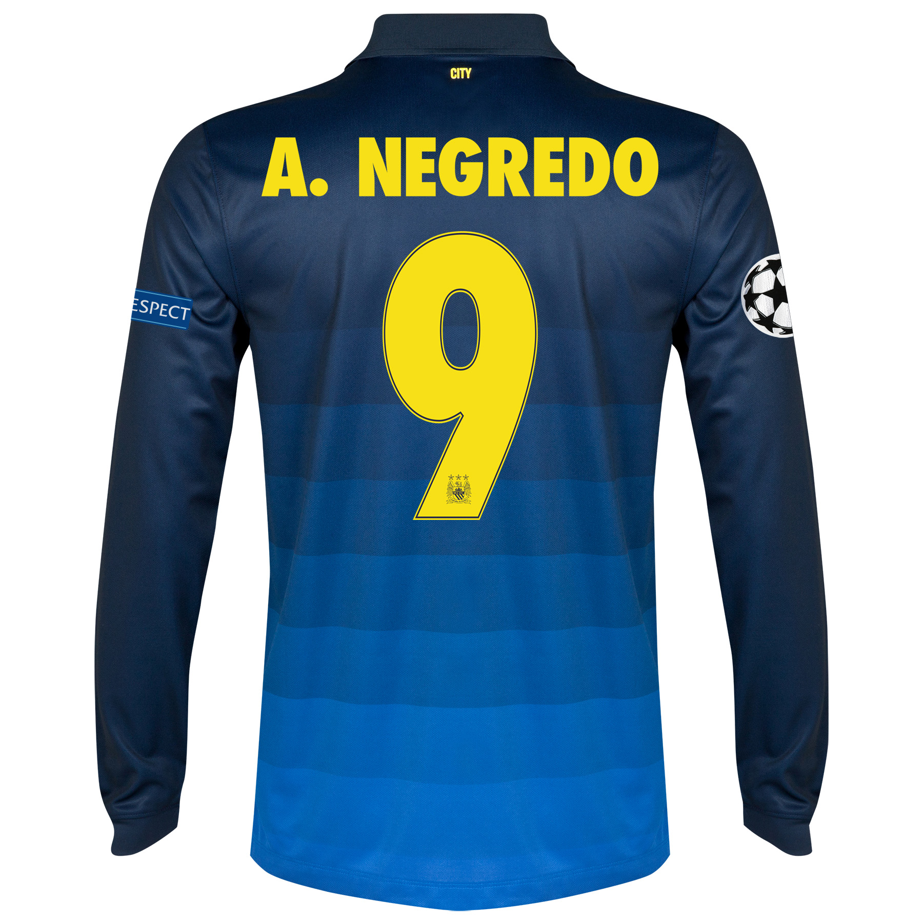 Manchester City UEFA Champions League Away Shirt 2014/15 - Long Sleeve with A.Negredo 9 printing