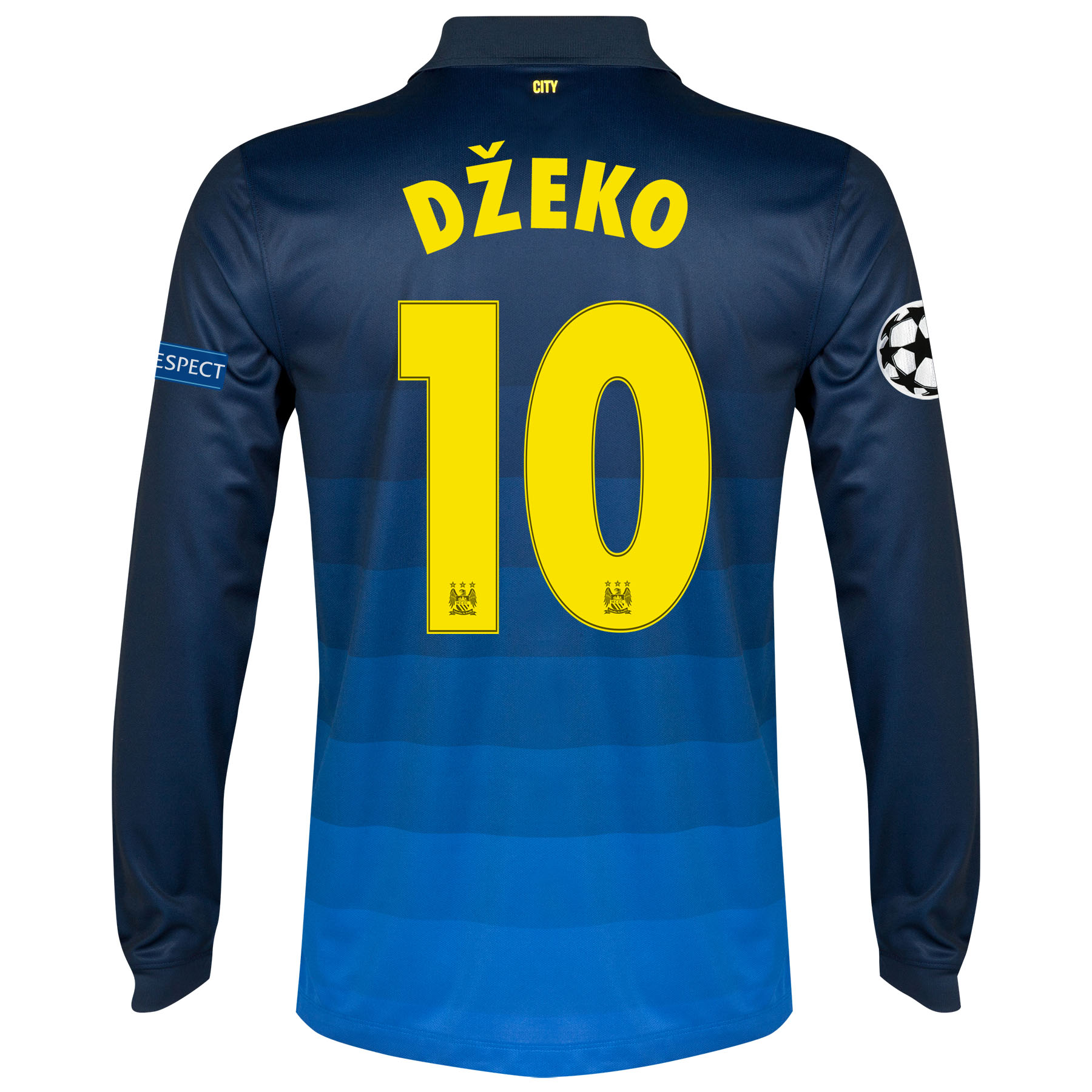 Manchester City UEFA Champions League Away Shirt 2014/15 - Long Sleeve with Dzeko 10 printing