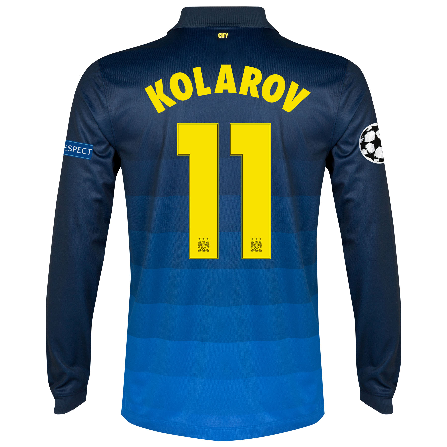 Manchester City UEFA Champions League Away Shirt 2014/15 - Long Sleeve with Kolarov 11 printing