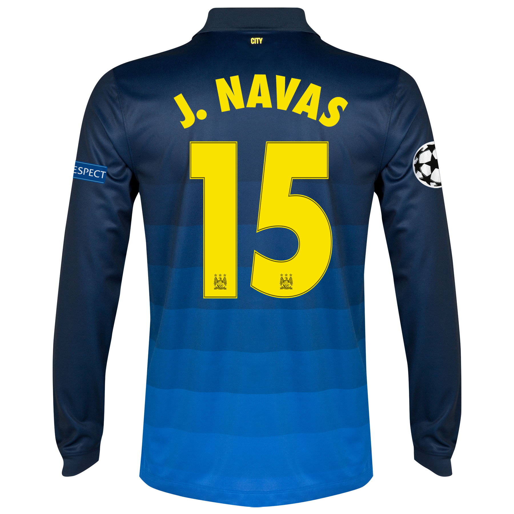 Manchester City UEFA Champions League Away Shirt 2014/15 - Long Sleeve with J.Navas 15 printing