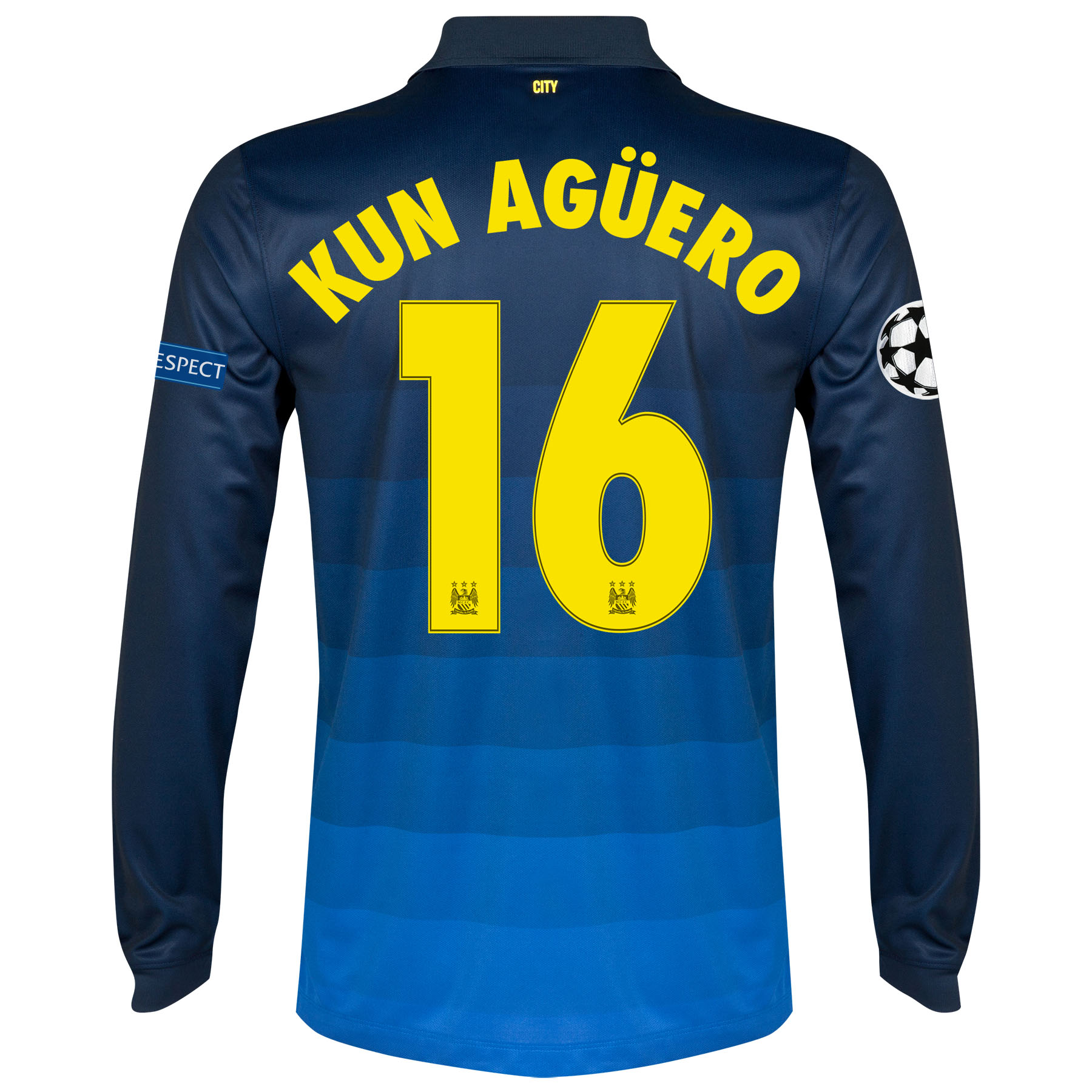 Manchester City UEFA Champions League Away Shirt 2014/15 - Long Sleeve with Kun Agüero  16 printing