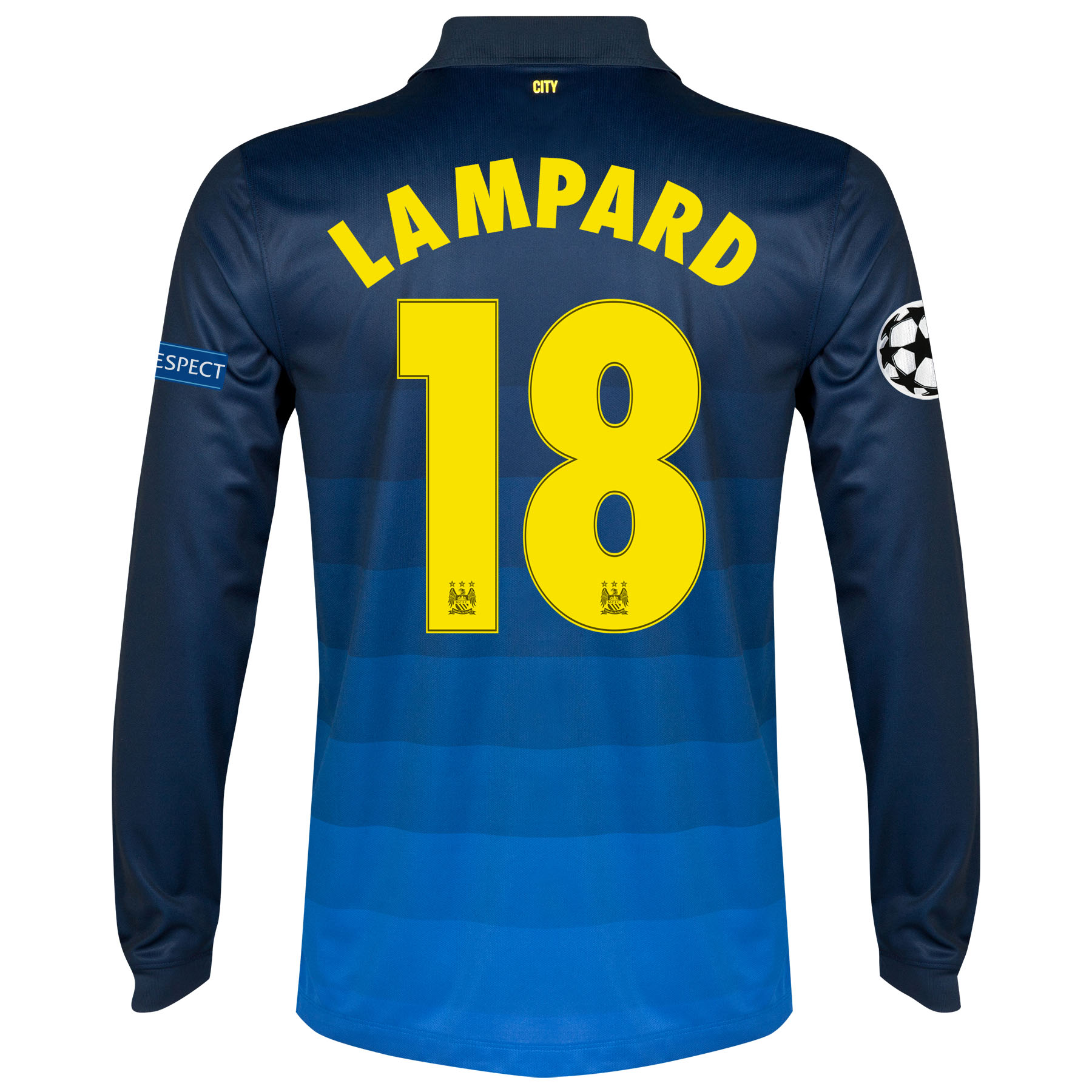 Manchester City UEFA Champions League Away Shirt 2014/15 - Long Sleeve with Lampard 18 printing
