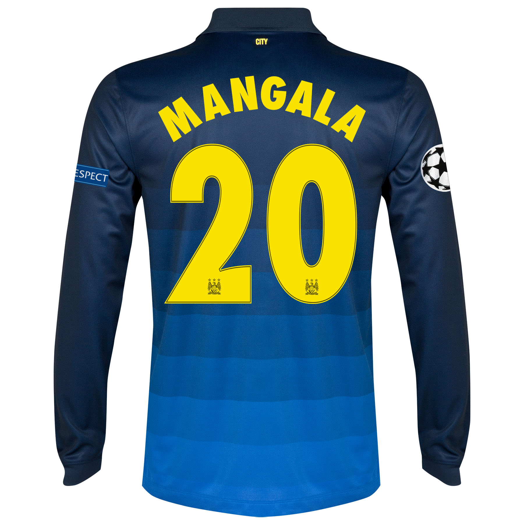 Manchester City UEFA Champions League Away Shirt 2014/15 - Long Sleeve with Mangala 20 printing