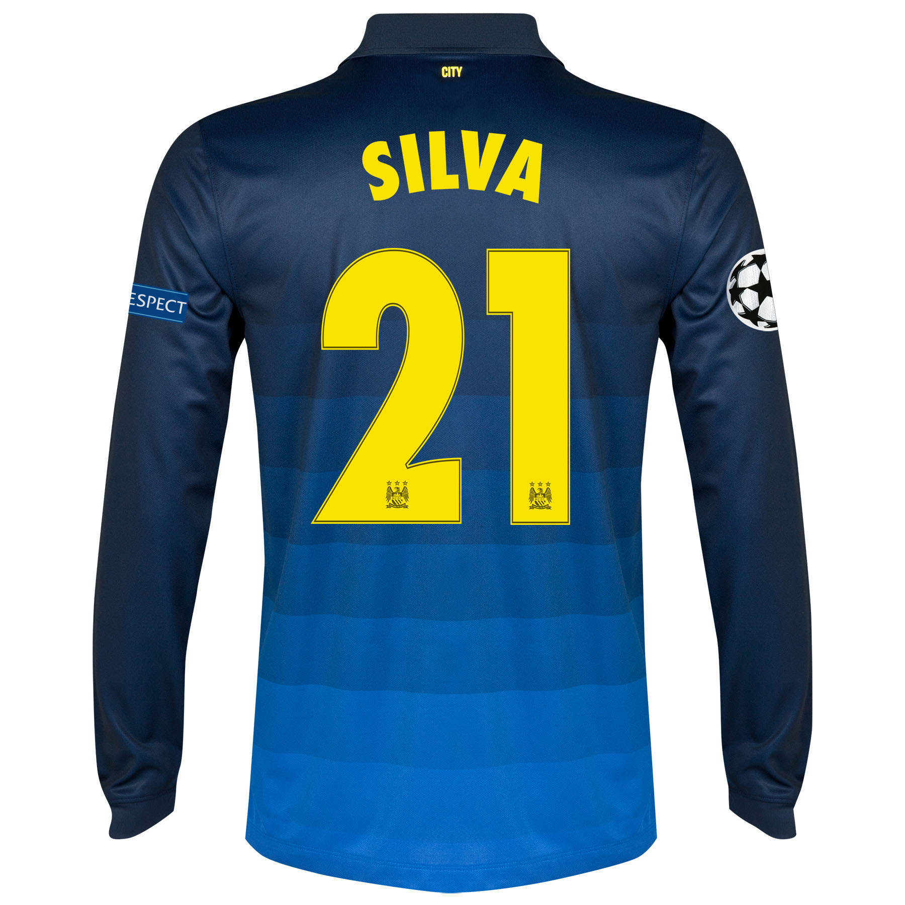 Manchester City UEFA Champions League Away Shirt 2014/15 - Long Sleeve with Silva 21 printing