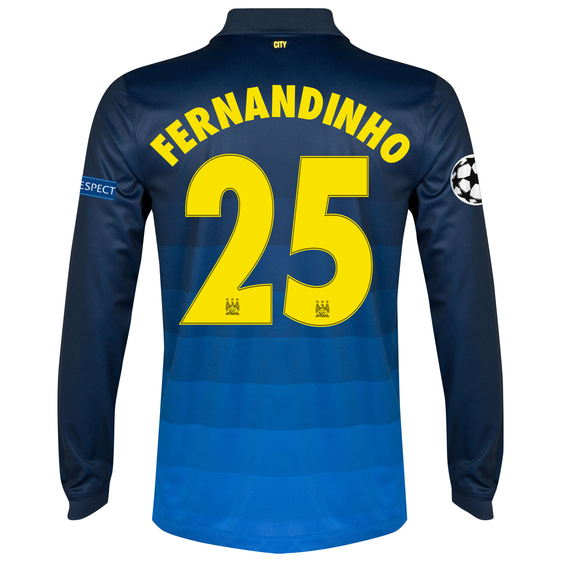 Manchester City UEFA Champions League Away Shirt 2014/15 - Long Sleeve with Fernandinho 25 printing
