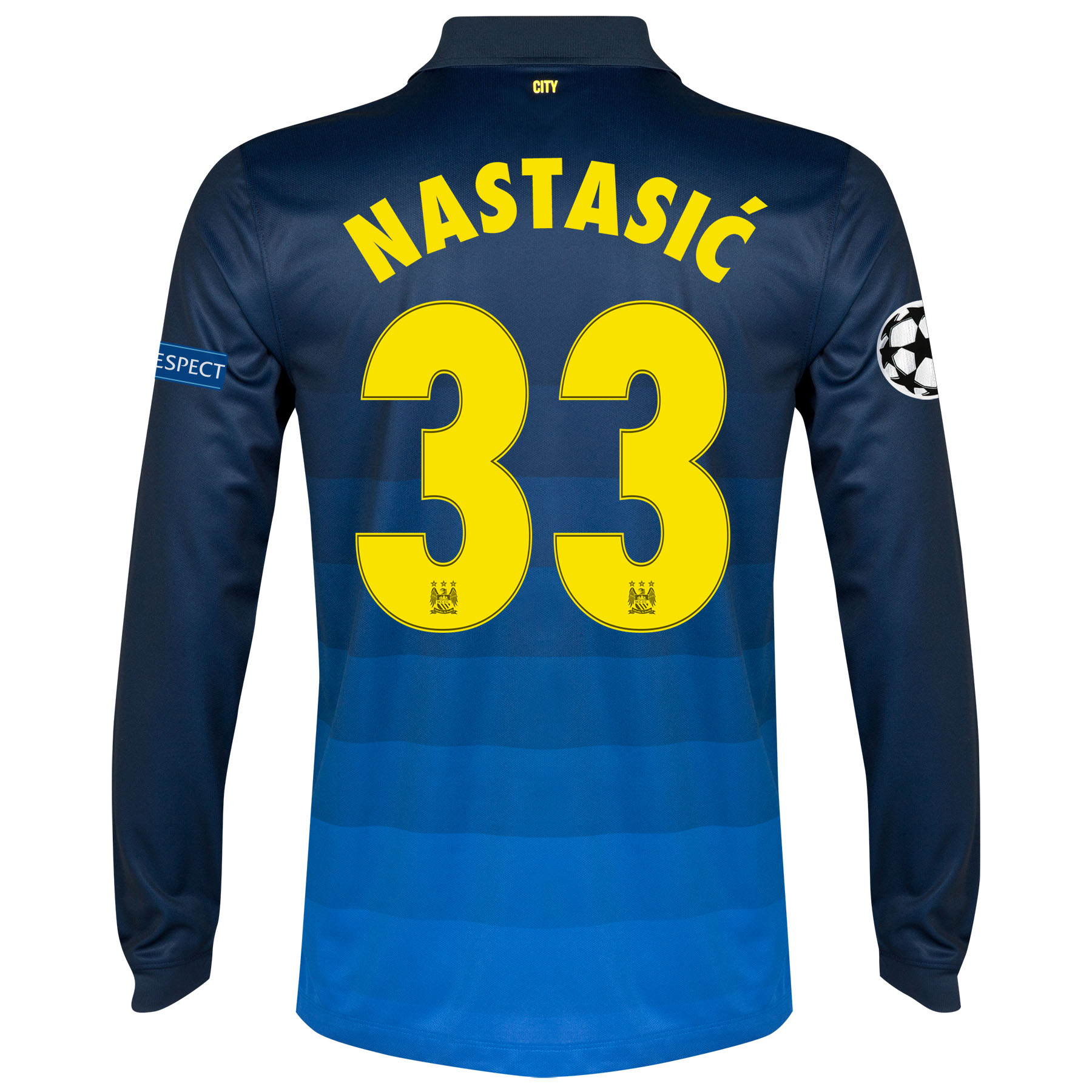 Manchester City UEFA Champions League Away Shirt 2014/15 - Long Sleeve with Nastasic 33 printing